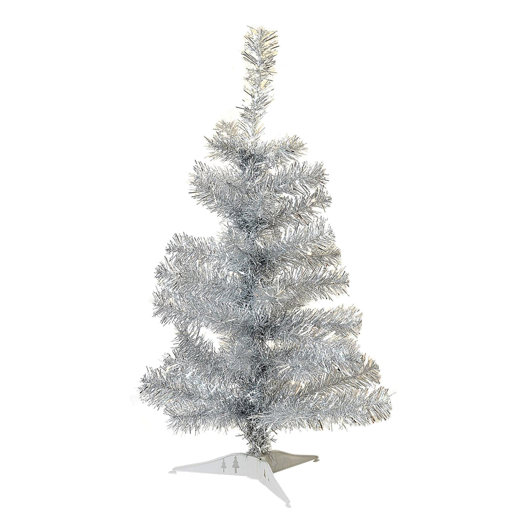 Silver Christmas Tree Xmas Artificial Traditional Pine Small With Stand 2ft 60cm 5055512092185 Ebay