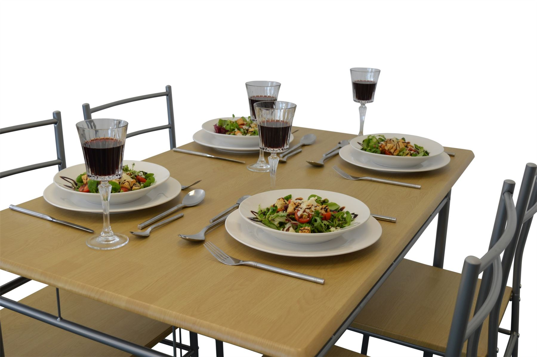 5 piece kitchen dining room table chairs furniture set silver ebay - Ebay kitchen table ...