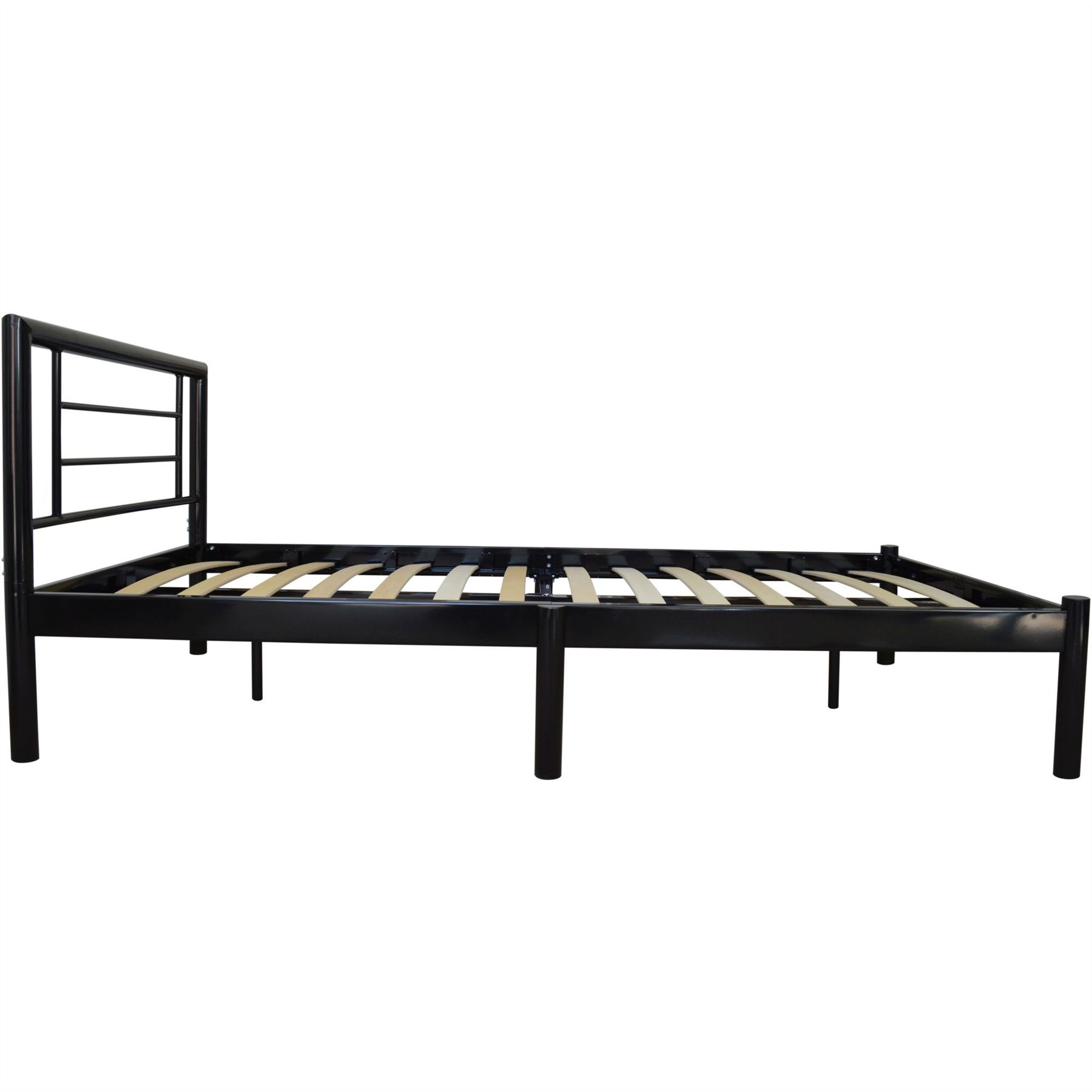 Single Metal Bed Frame Strong Wooden Slats In Black