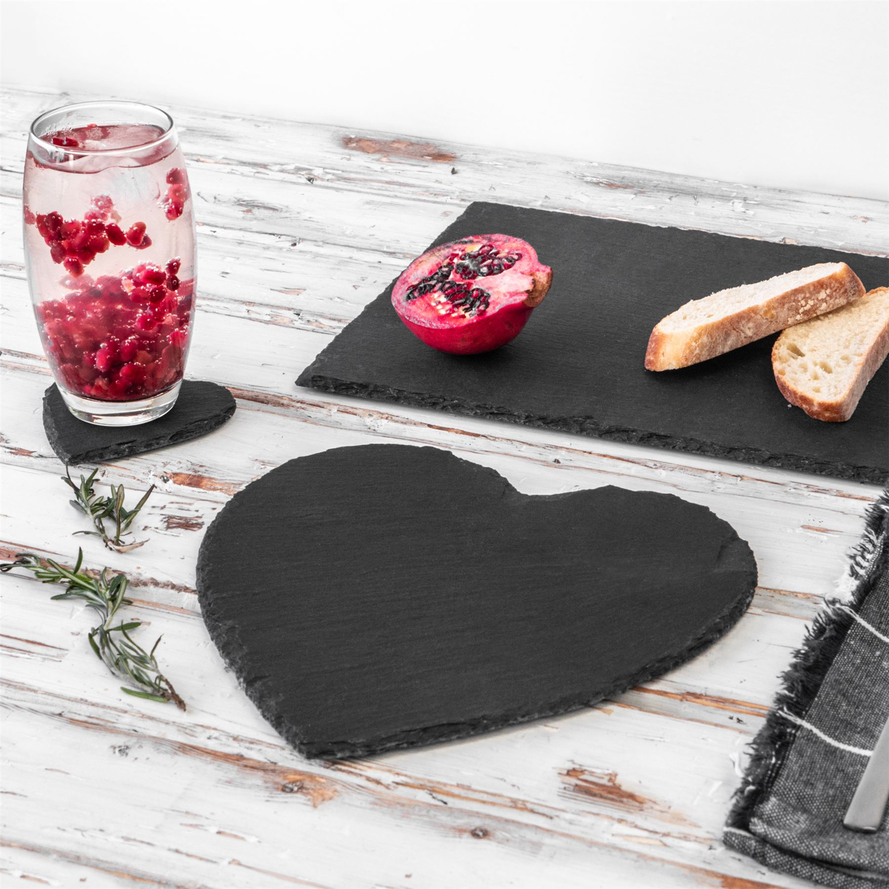 Heart Slate Coasters Set Padded Feet Dining Wedding Dinner