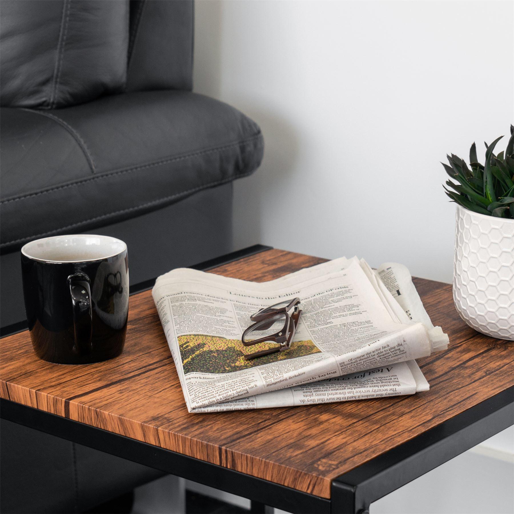 Rustic Dark Wood Metal Frame Set Of 2 Harbour Housewares Industrial Coffee Table Side Table Coffee Tables