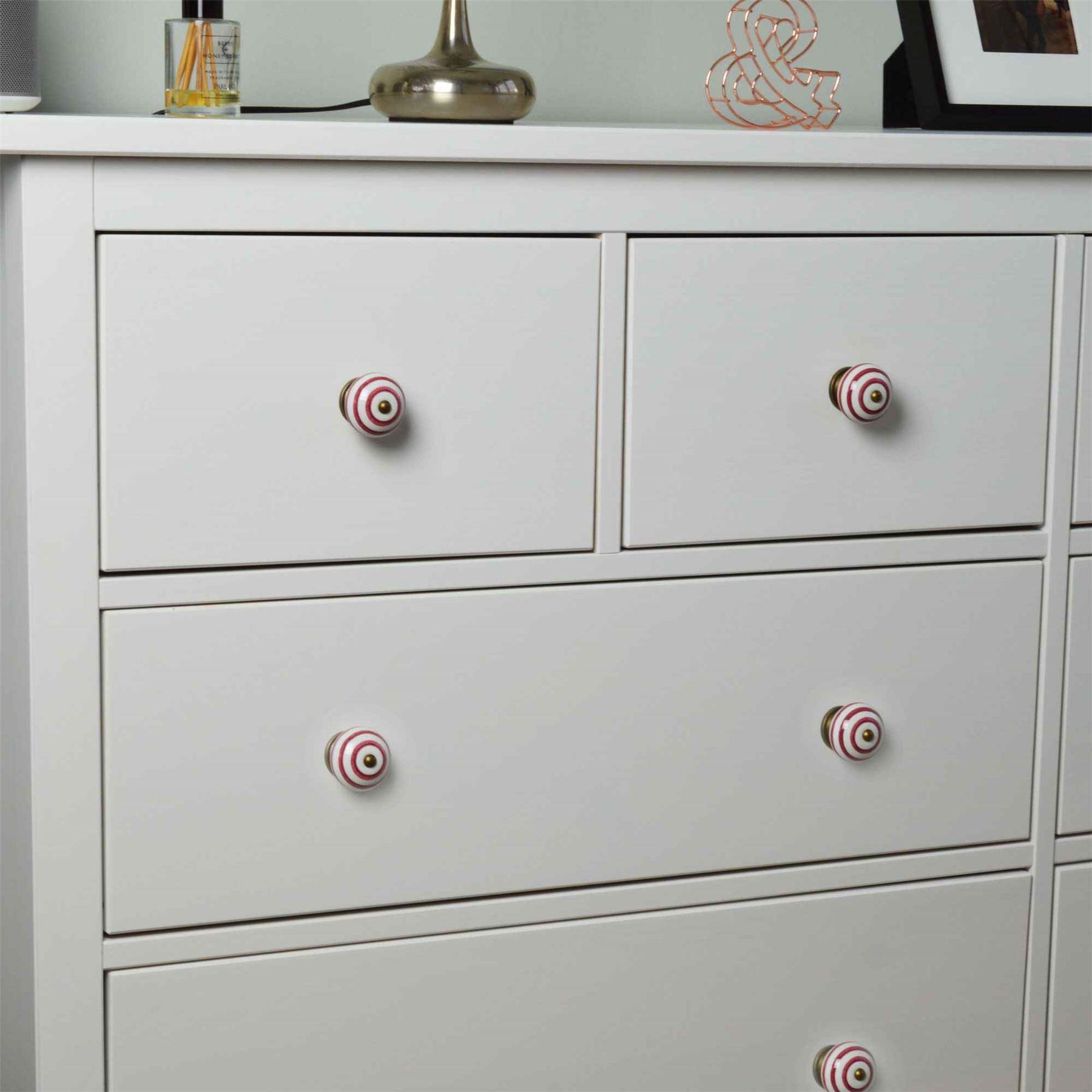 Lot de 6 pour Placard//tiroir Nicola Spring Poign/ées en c/éramique Style Floral Vintage Rouge fonc/é