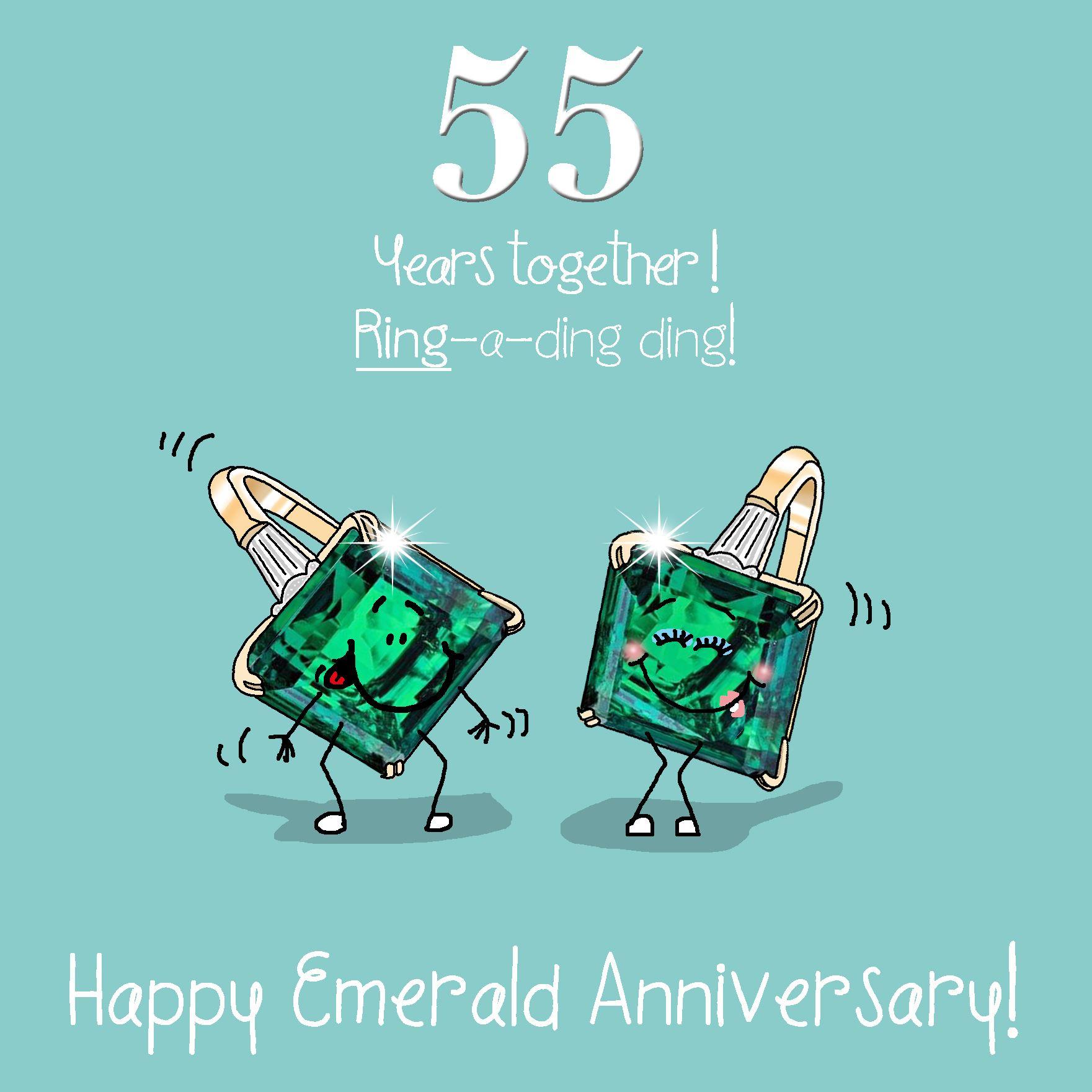 55th Wedding Anniversary Greetings Card Emerald Anniversary