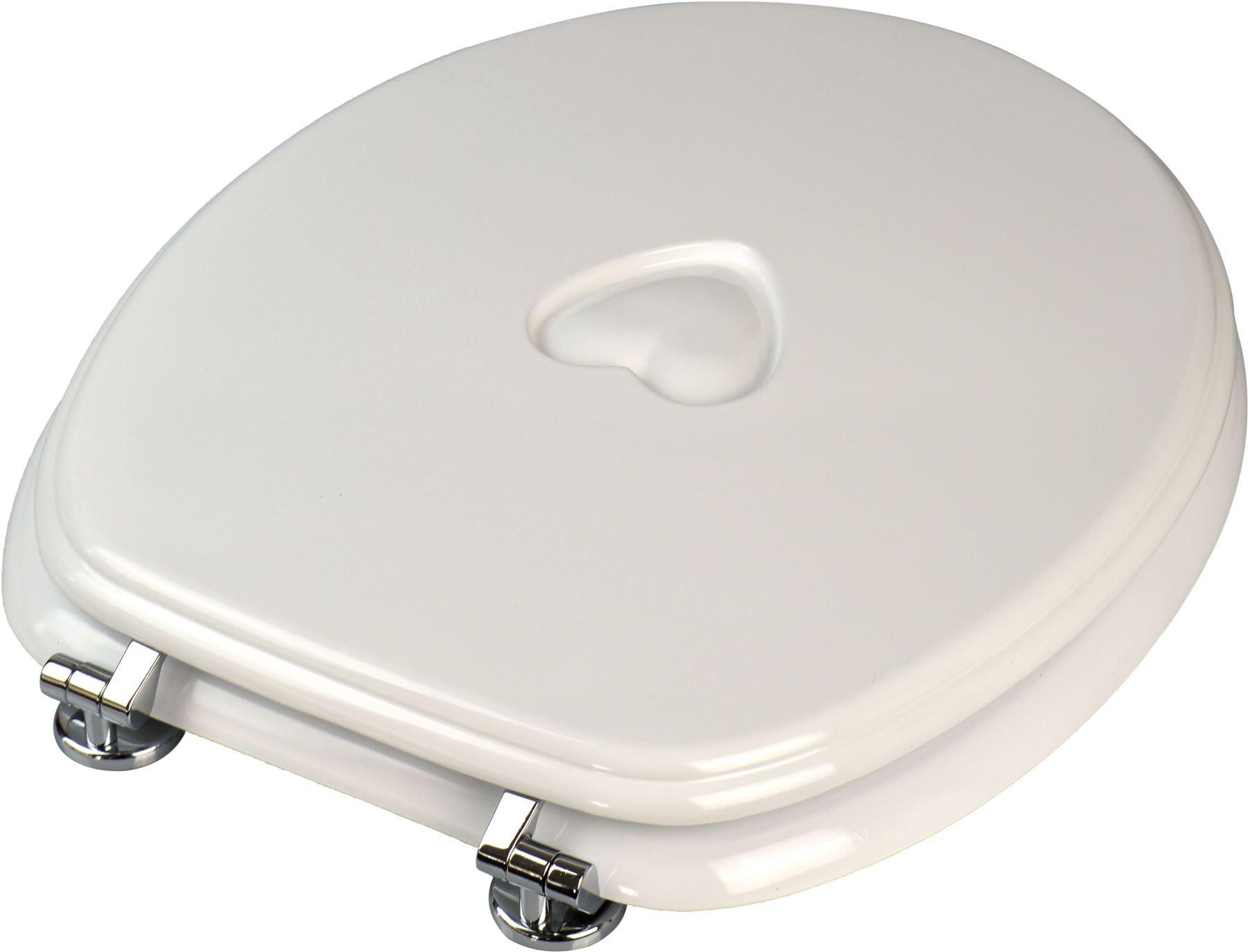 White Wooden Bathroom Toilet Seat Heart Design Fixings Included EBay