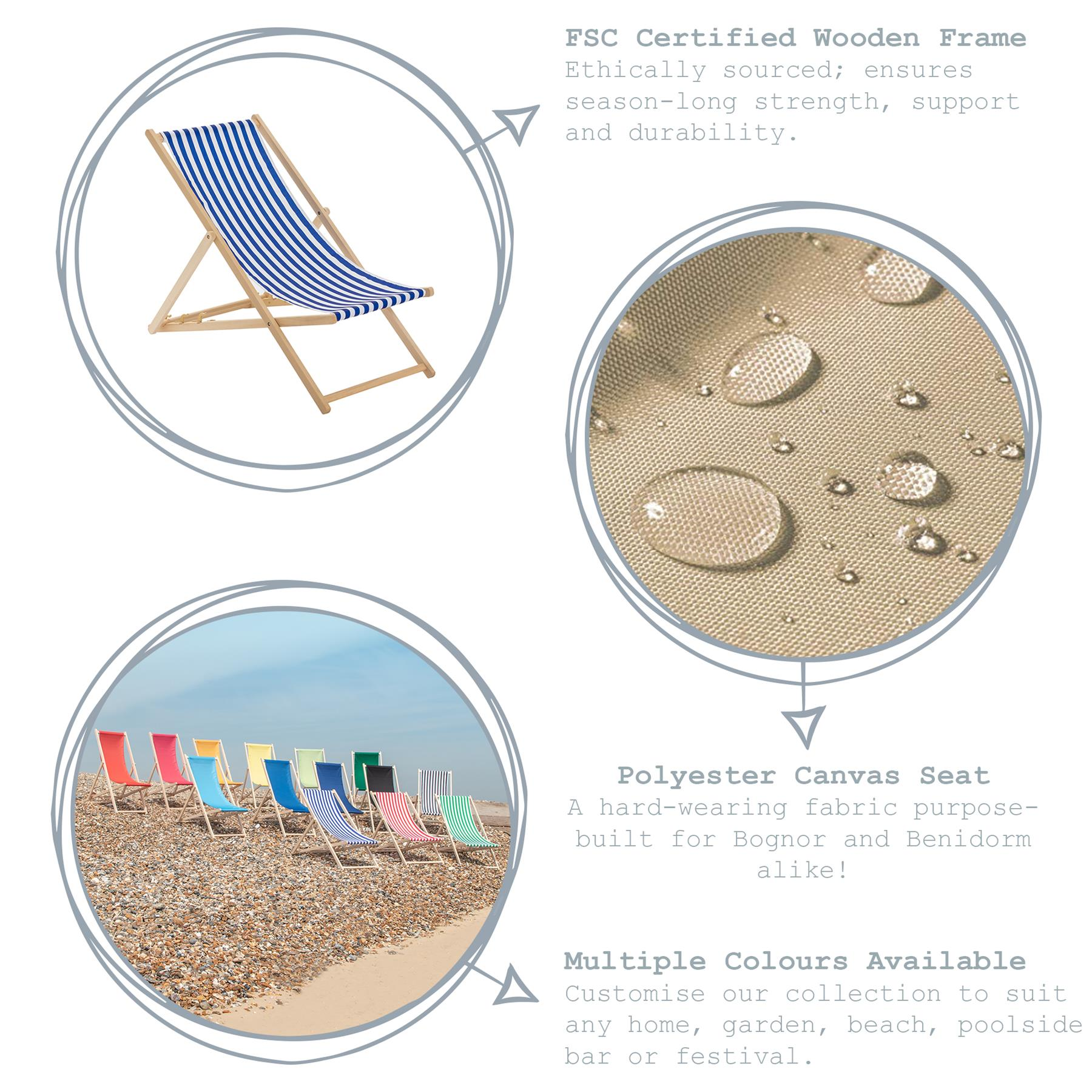 Wooden Deck Chair Folding Garden Beach Seaside Deckchair Green White Stripe x1