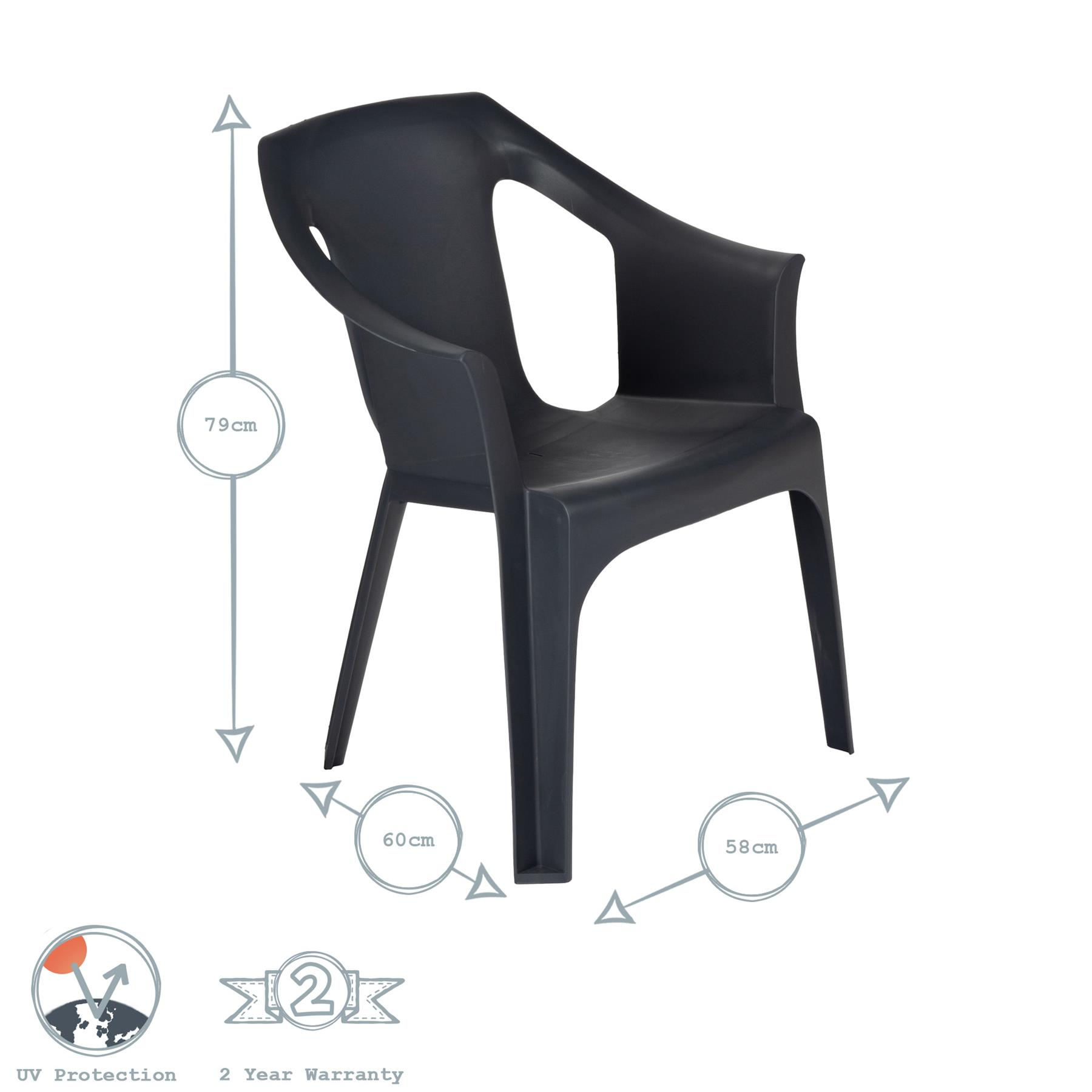 Garden Dining Chairs Resol Palma Outdoor Plastic Armchair BBQ Seating White x4