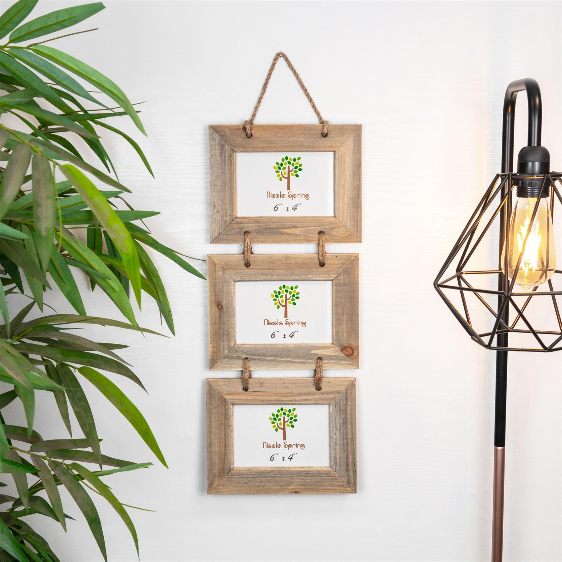 Shabby Chic Style Rustique En Bois Flotte Triple Hanging Cadre Photo