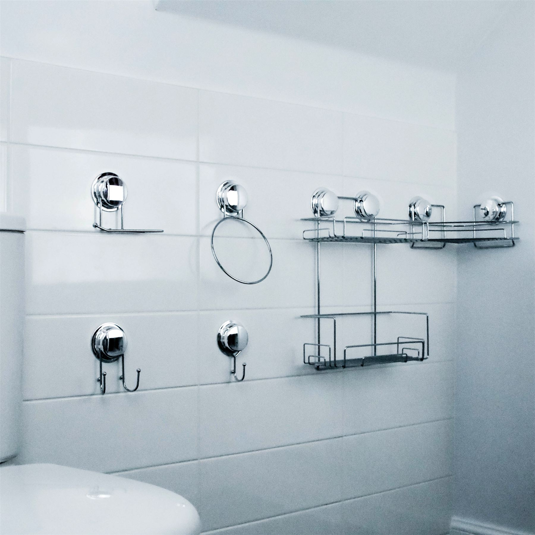 Bathroom Double Shelf Shower Bath Toiletries Caddy Vacuum Suction ...