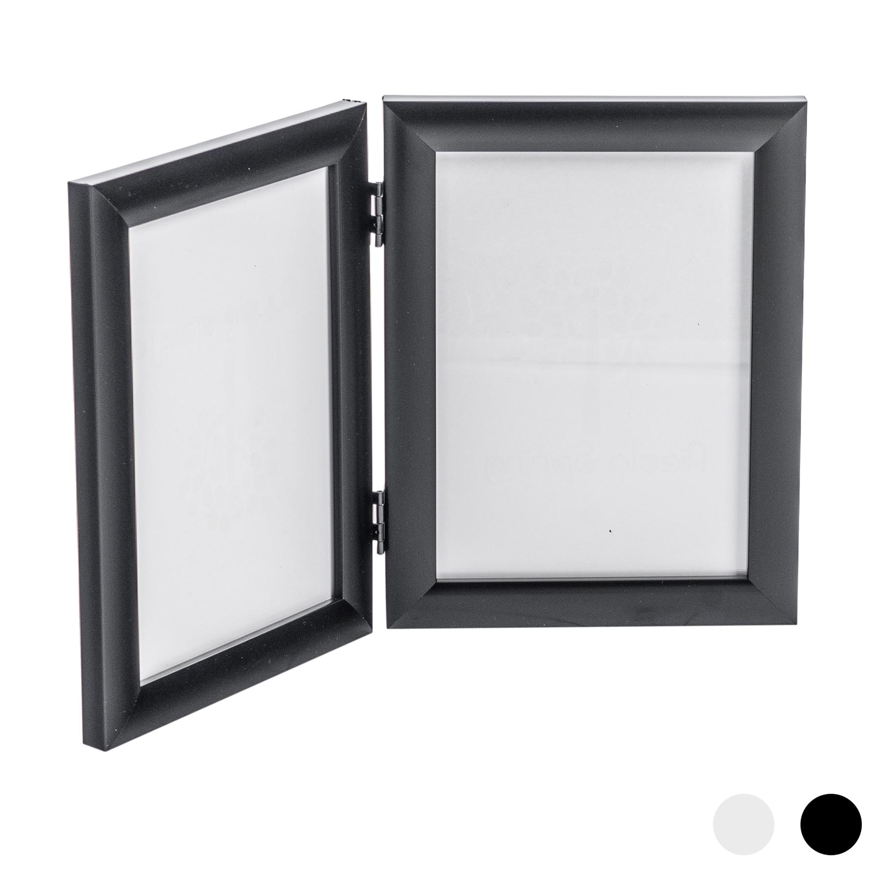 Double Photo Frame Picture Frames Folding Standing Hinged Black 5x7 Portrait Ebay