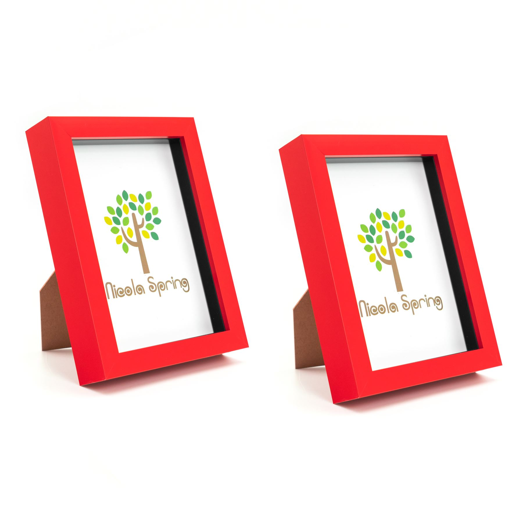 Box Picture Frame Deep 3D Photo Display 4x6 Inch Standing Hanging Red x2