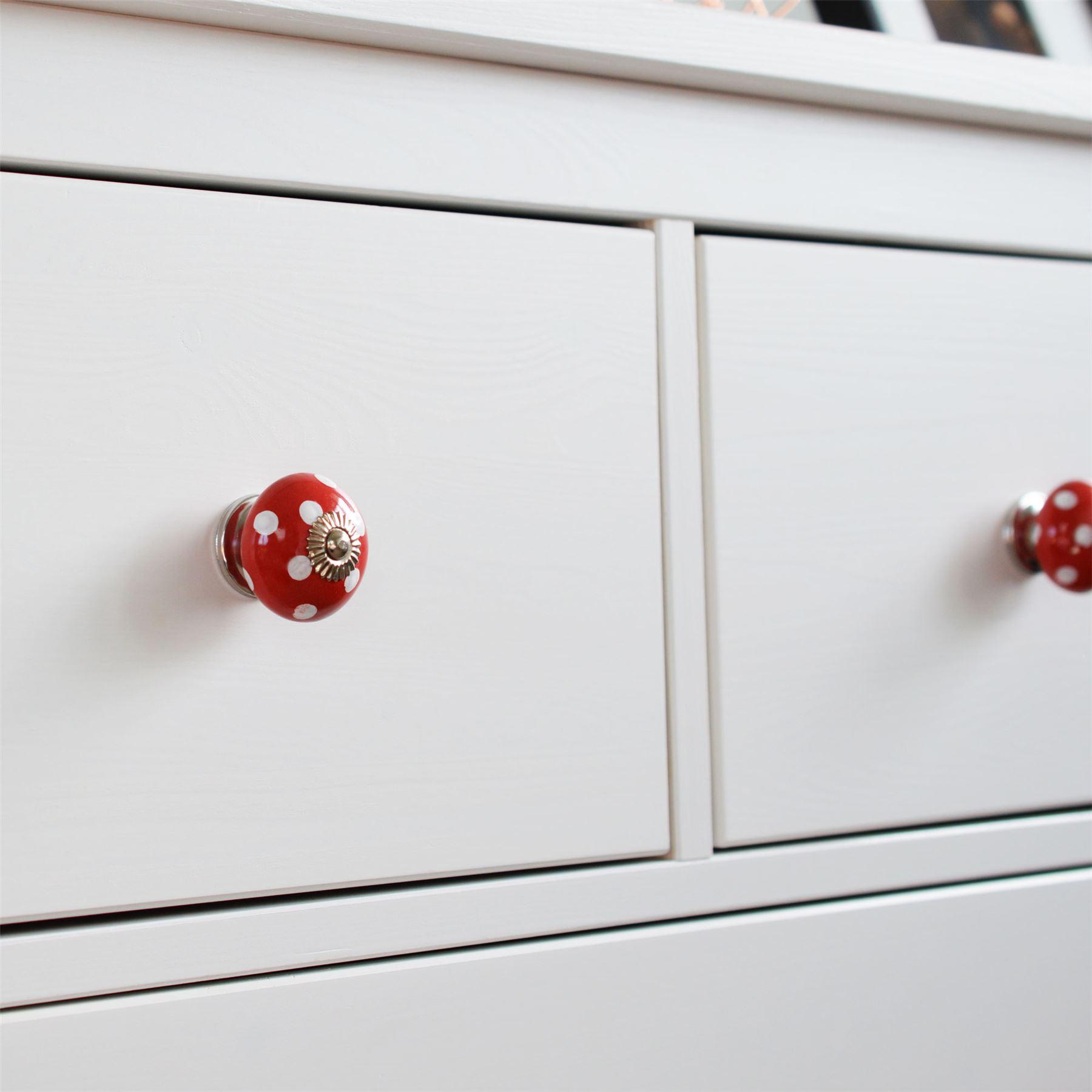x12 White//Red Polka Dot Ceramic Door Knobs Cabinet Drawer Handle Set