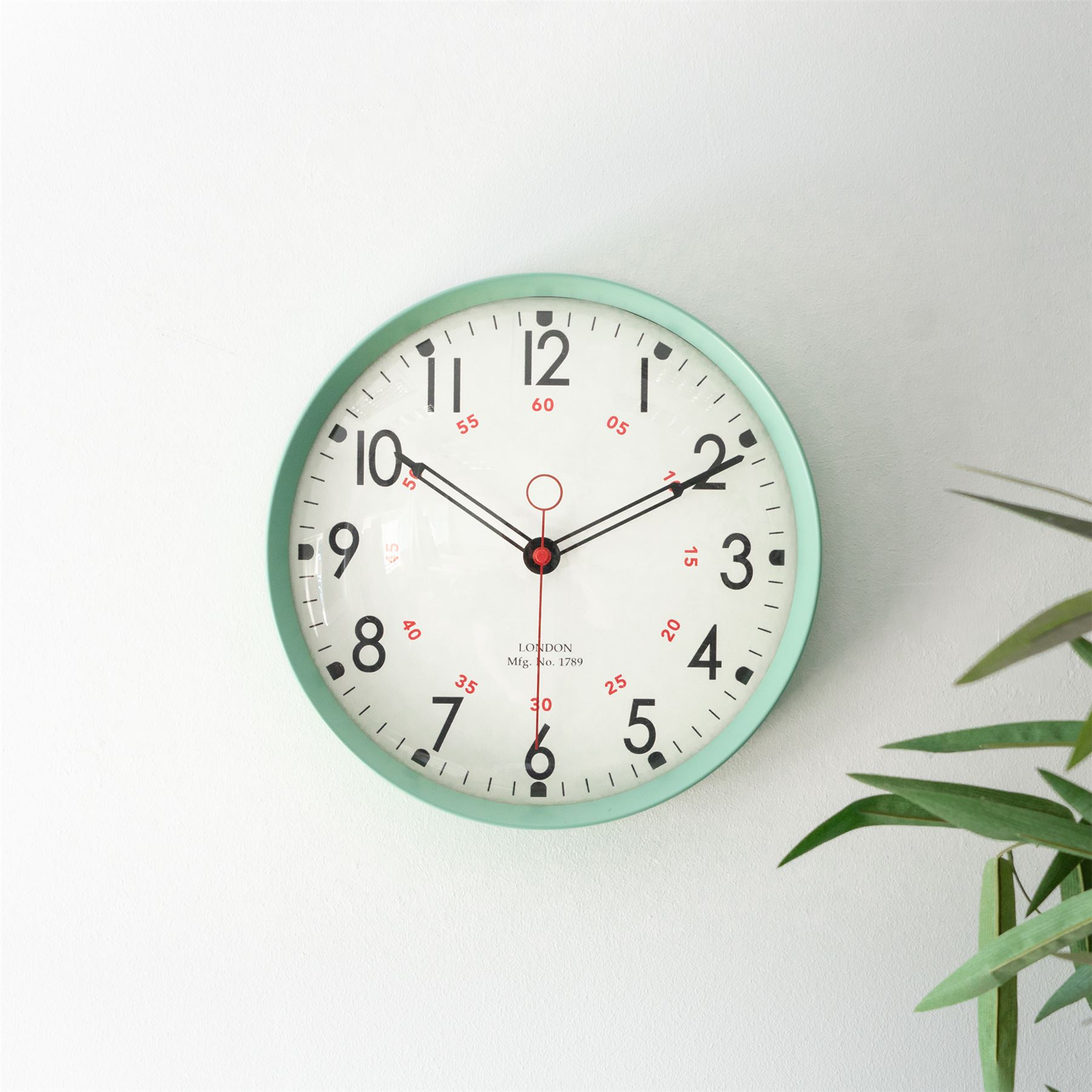 Retro Metal Kitchen Wall Clock 12in Sea Green Home Office