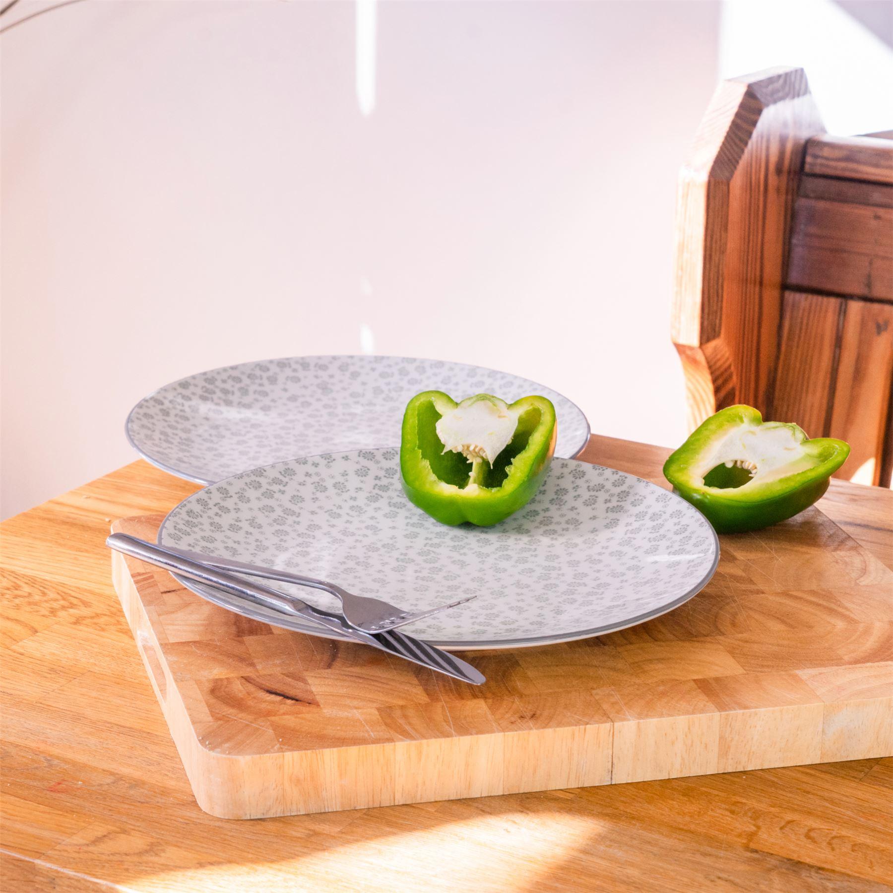 essteller set teller mit blumendesign 265mm wei. Black Bedroom Furniture Sets. Home Design Ideas