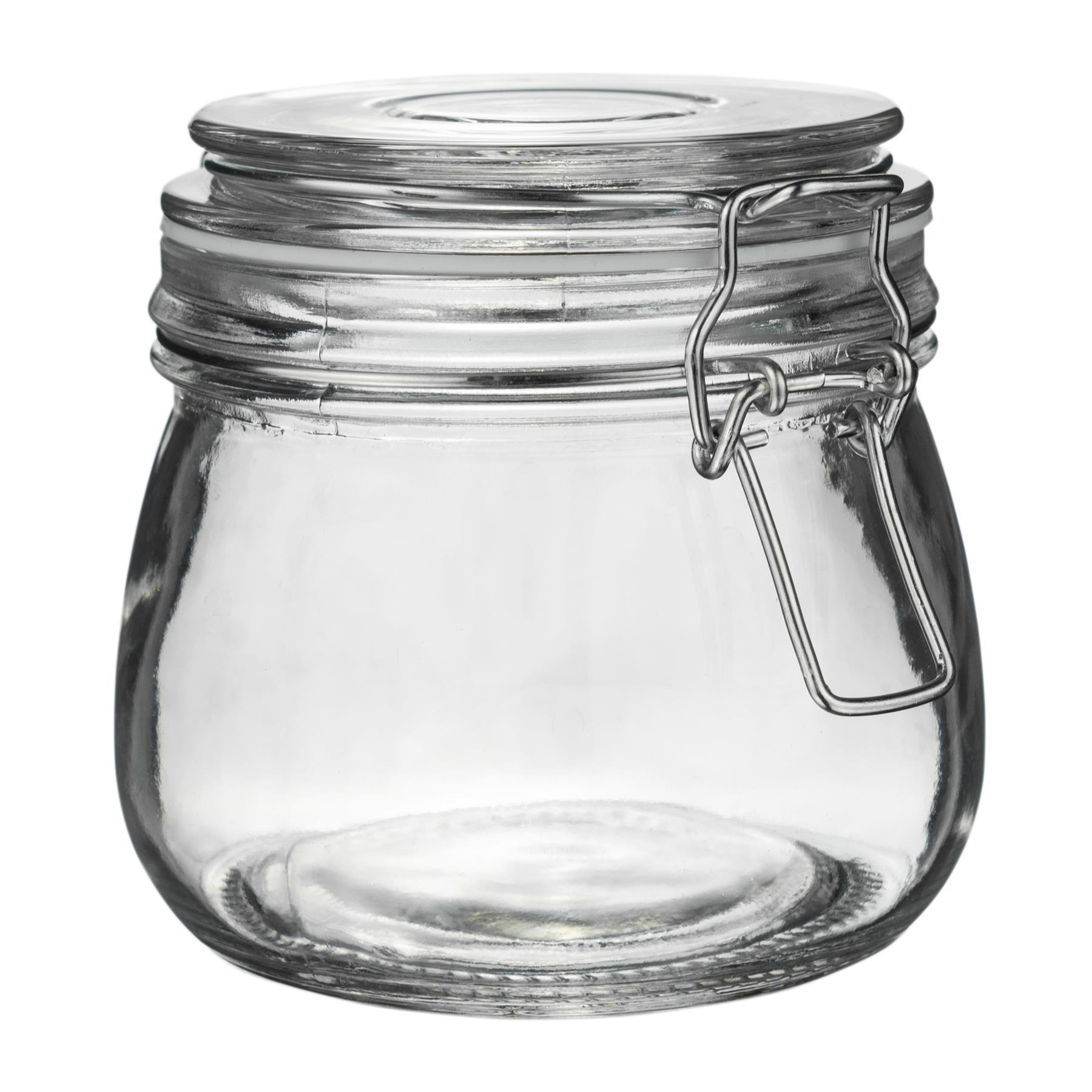 3 x Verre de Stockage Pots hermétique Clip Couvercle alimentaire préserver Preserving jar 500 ml
