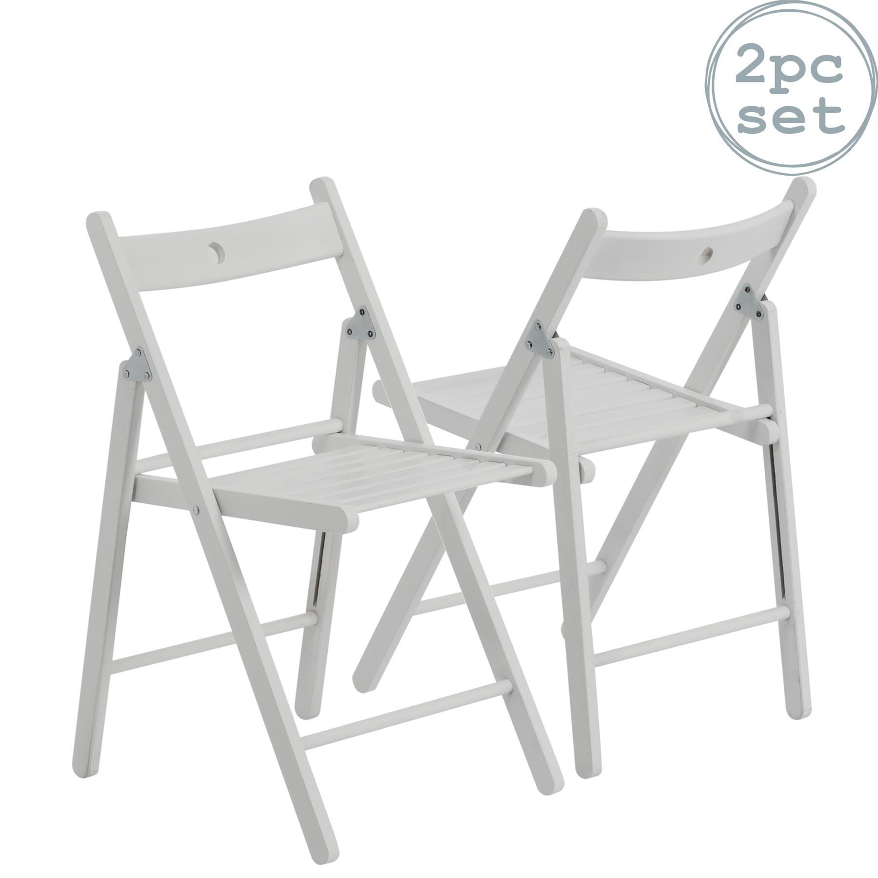 Harbour Housewares Wooden Folding Chairs White Wood Colour Pack of 2