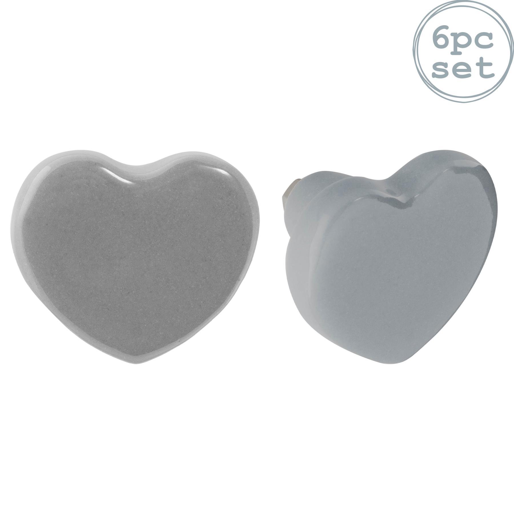 heart Print White Cabinet Decorative Door Handle Dresser Drawer or Bureau Pull Set of 6 Ceramic Knob/'Love Out/' Furniture Cupboard Handle