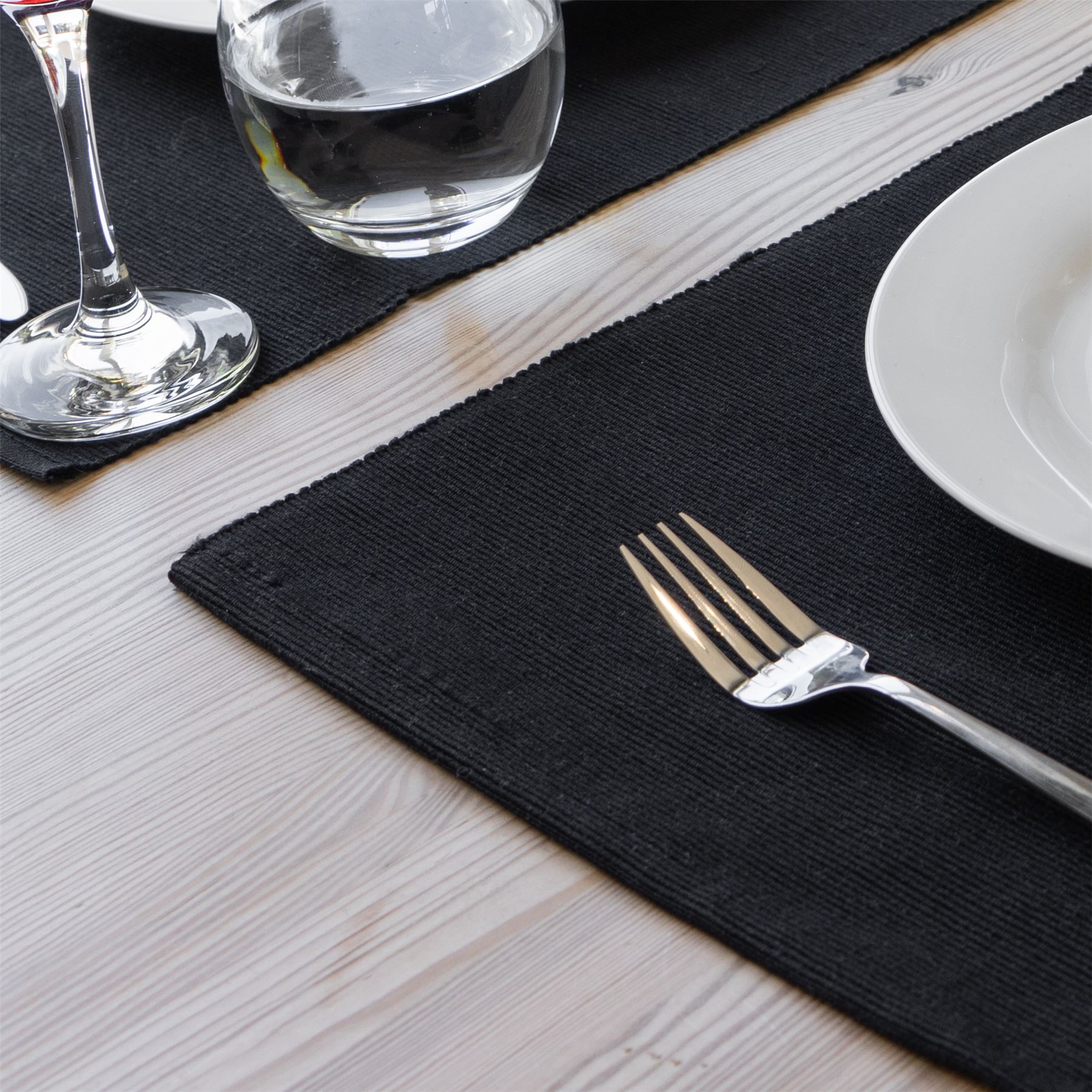 6x gewelltes Rechteck Cotton Esstisch Tischsets Schwarz 480 x 330 mm