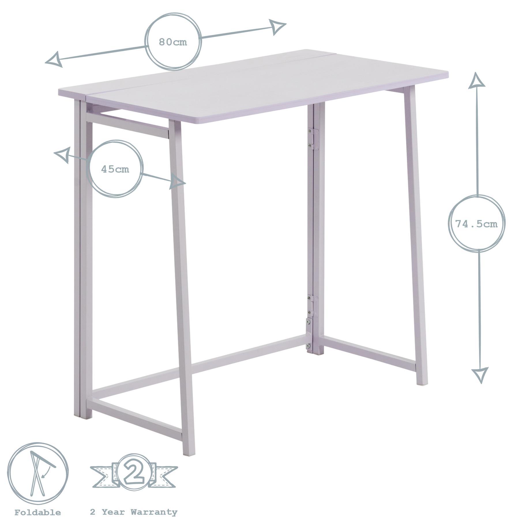 Folding Computer Desk Laptop Pc Home Office Uni Wood Study Table White Lilac 5055512089505 Ebay