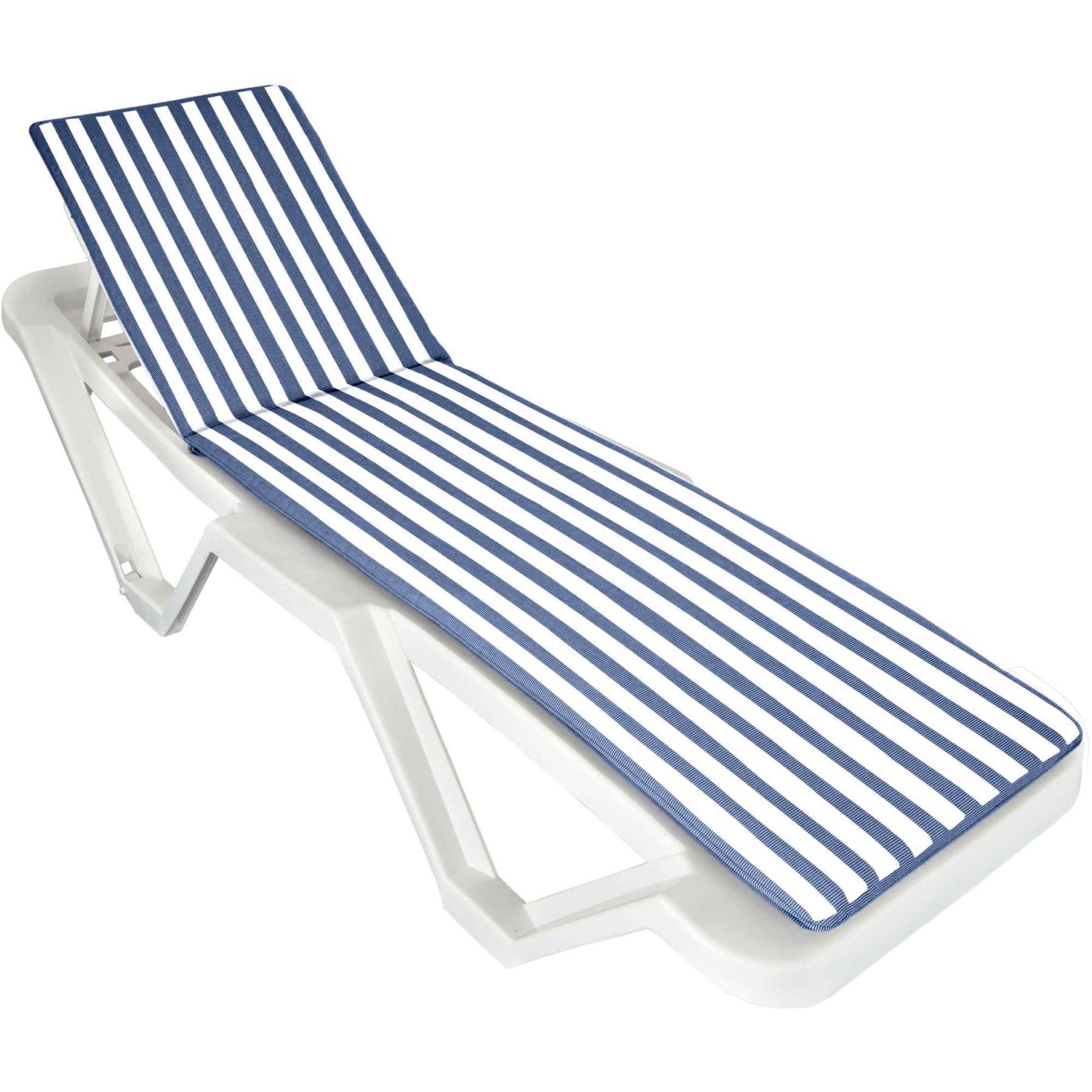 Blue White Sunlounger Cushion Pad For Sun Lounger Garden