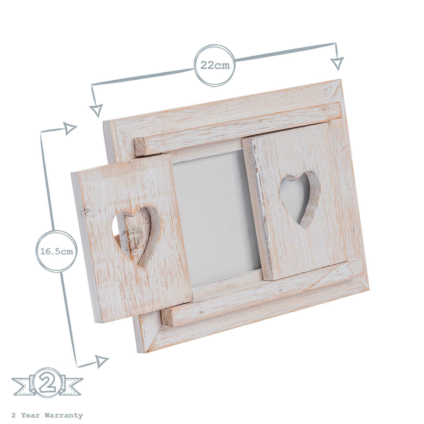 "White Wooden Shabby Chic Driftwood Photo White Hearts Freestanding Frame-4x6/"""