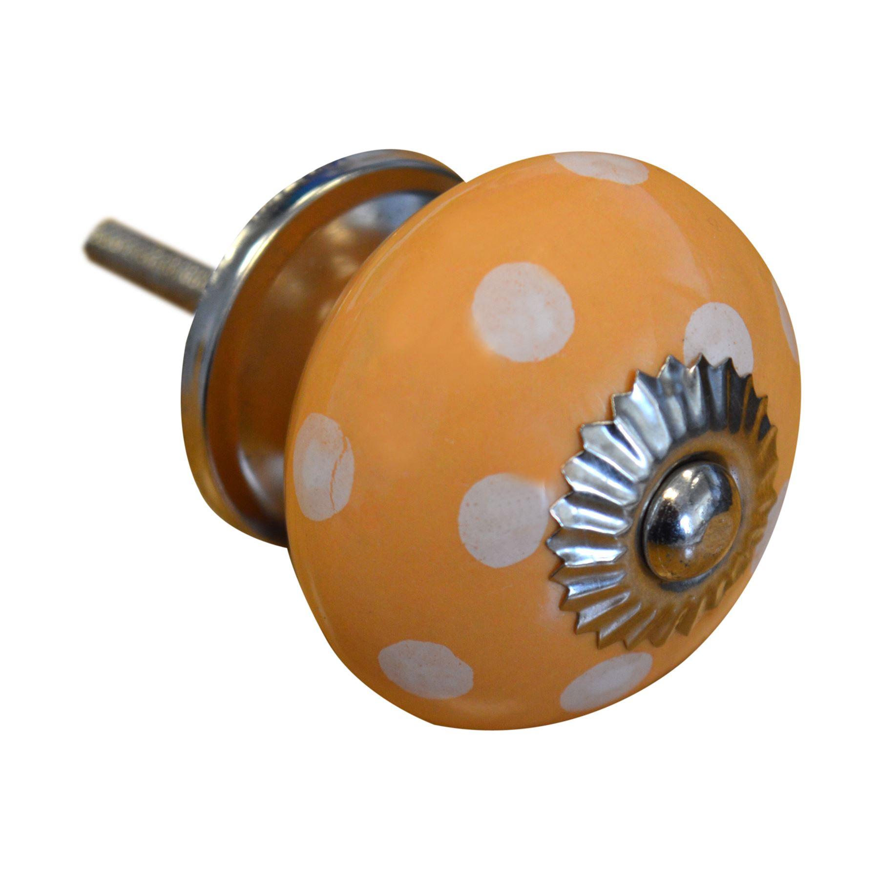 Orange // White Polka Dot x1 Ceramic Door Knob Cabinet Drawer Handle