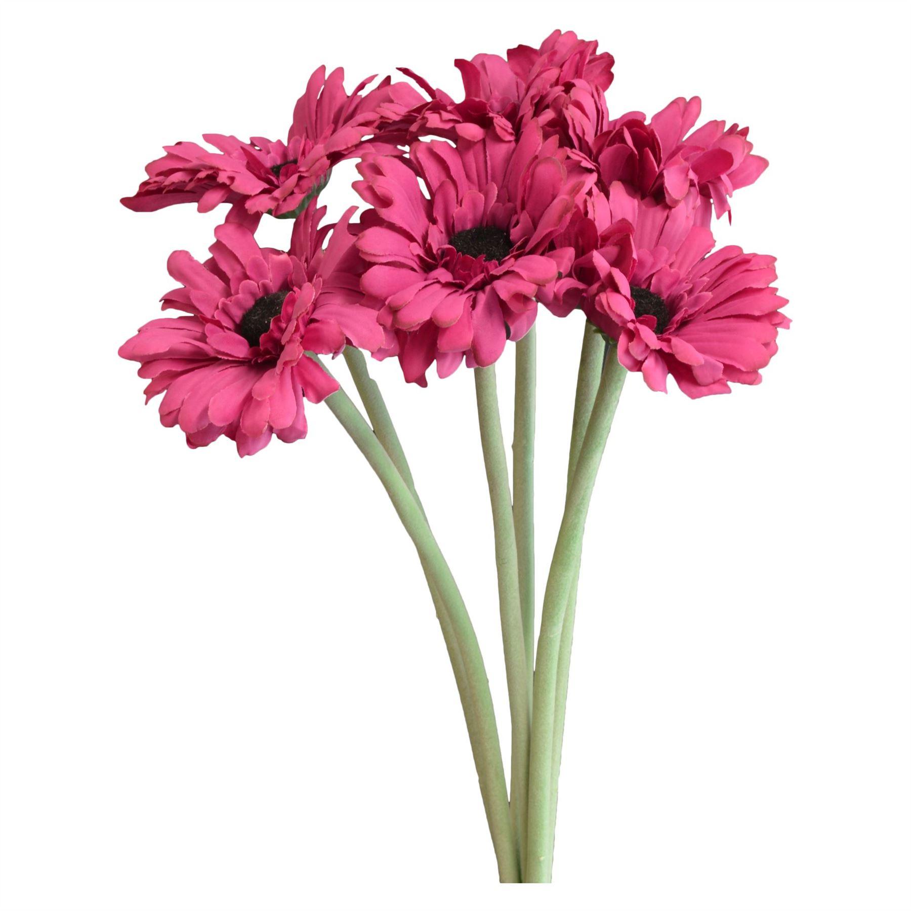 Artificial Long Stem Gerbera Flower Plant In Pink 54cm X6 Stems