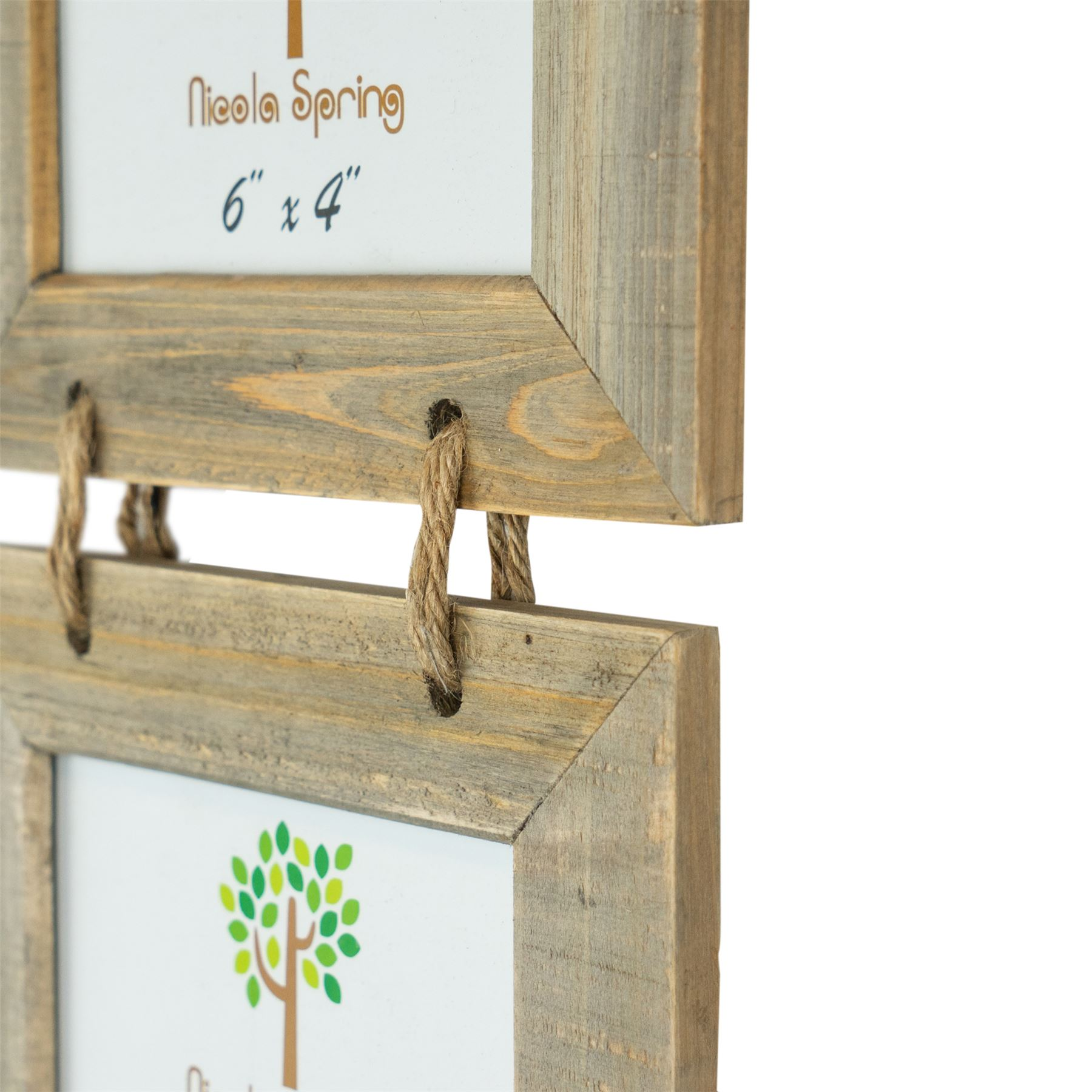 """Wooden Shabby Chic Rustic Driftwood Hanging 5 Photo Picture Frame-6x4/"""" x2"""
