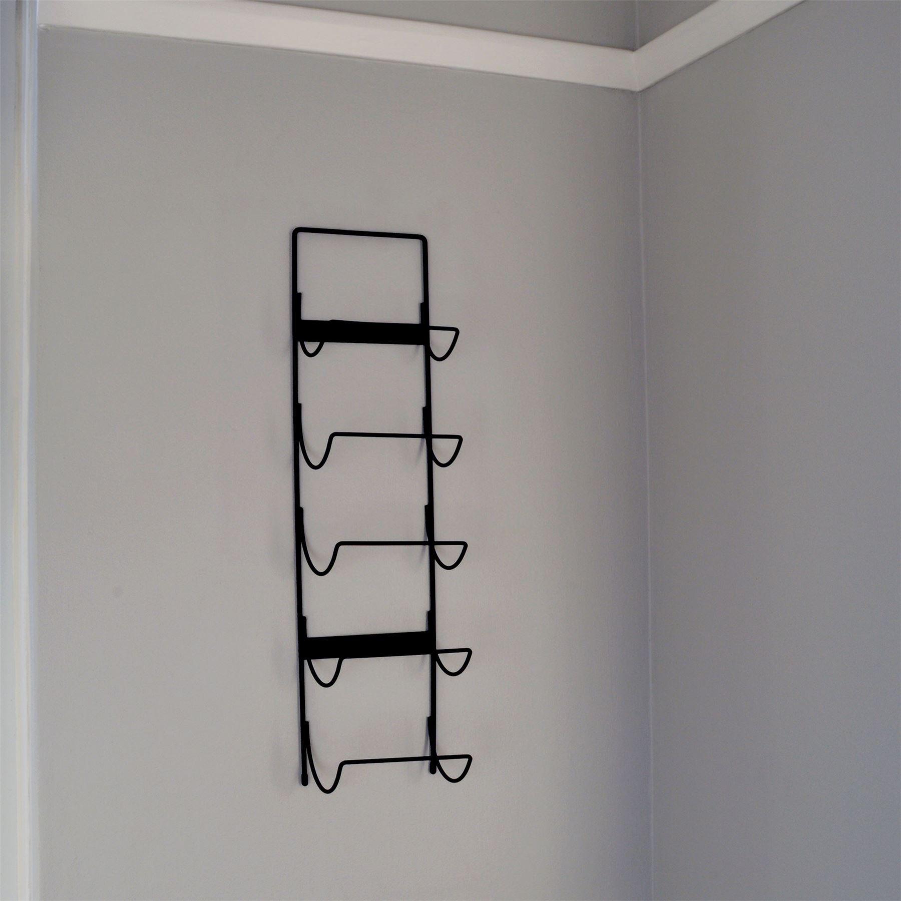 weinregal aus metall f r die wandmontage schwarz f r 5 flaschen ebay. Black Bedroom Furniture Sets. Home Design Ideas