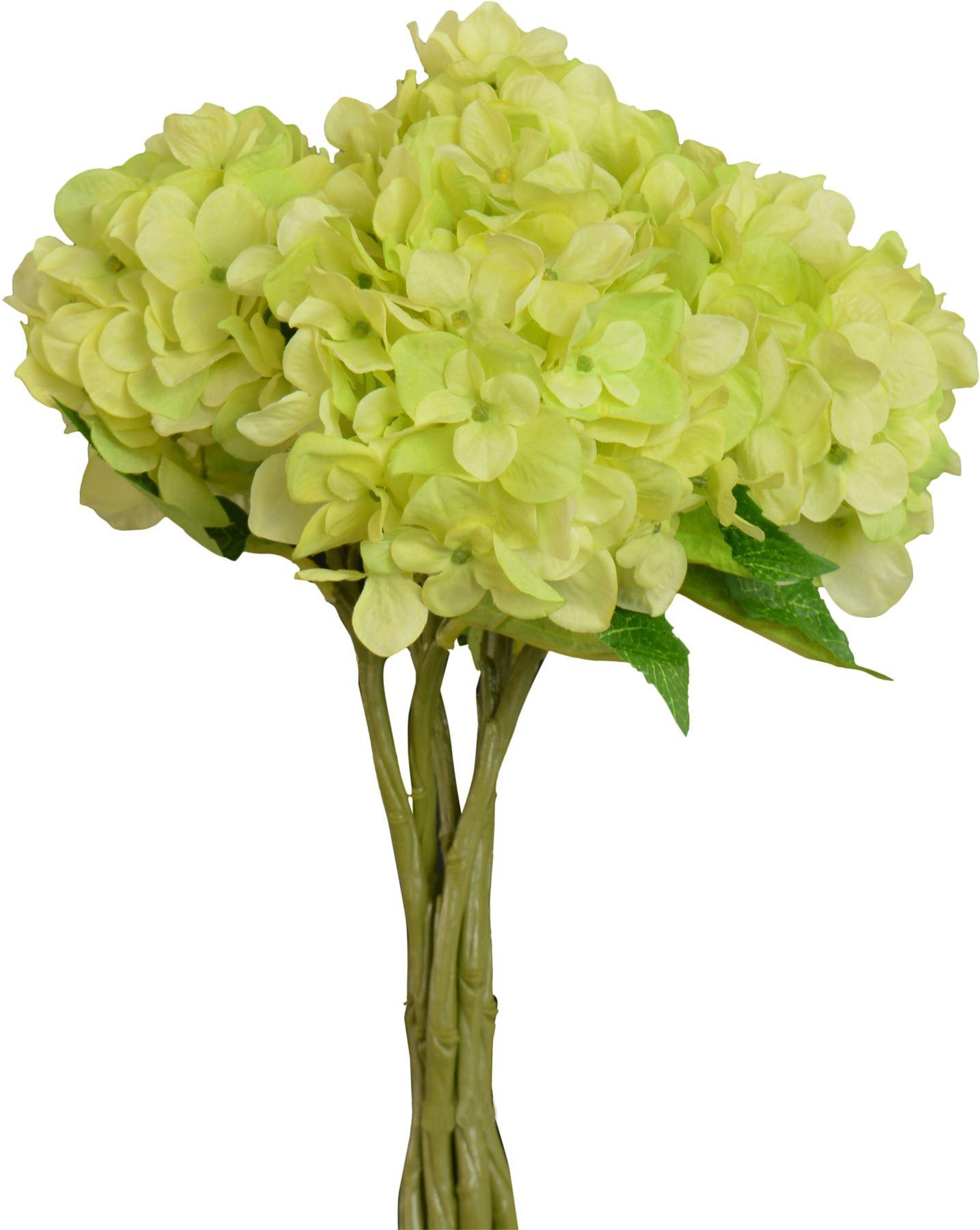 Artificial short stem hydrangea flower plants in green 37cm artificial short stem hydrangea flower plants in green 37cm bunch of 6 stems mightylinksfo