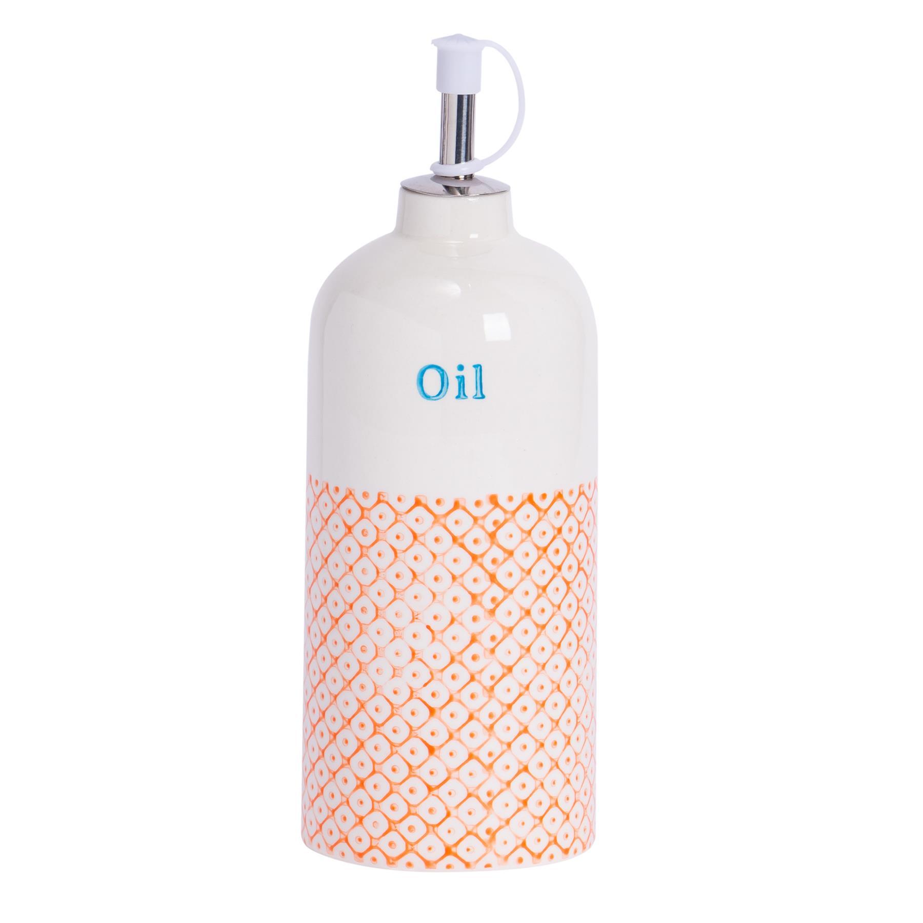 Blue Orange Olive Oil Dispenser Pourer Porcelain Dressing Drizzler Bottle