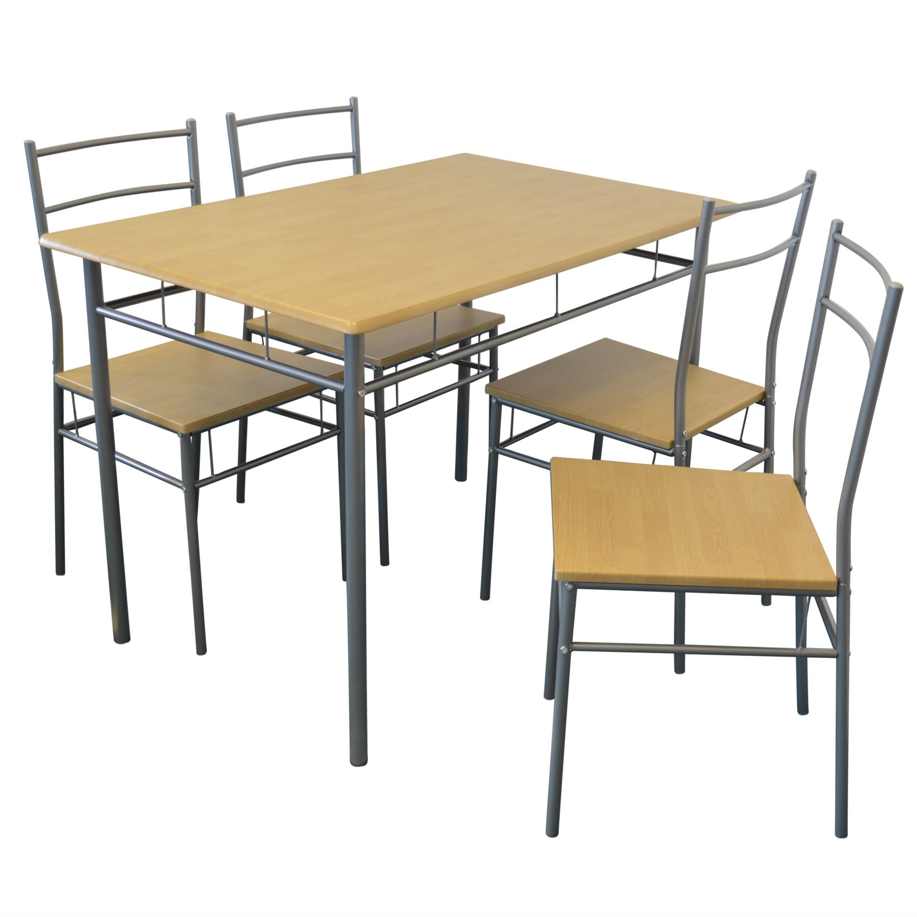 5 piece kitchen dining room table chairs furniture set silver ebay - Silver dining table and chairs ...