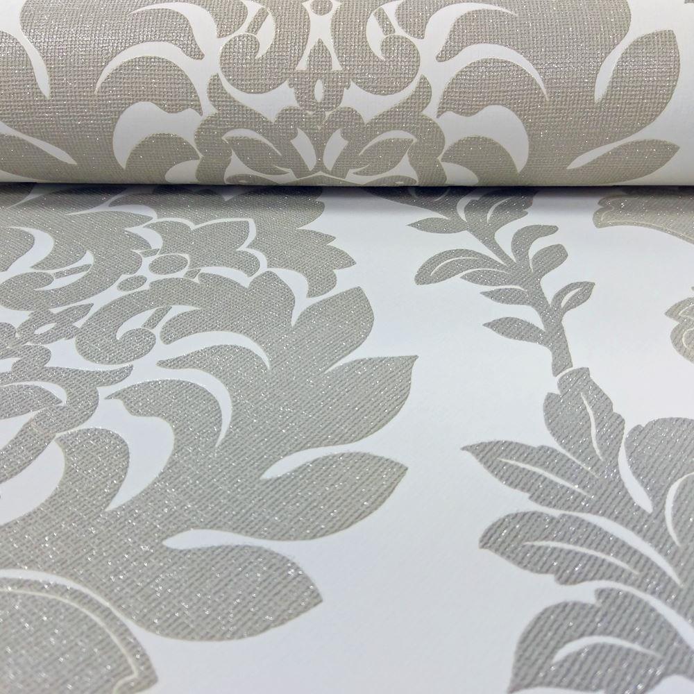 Erismann Damask Pattern Wallpaper Leaf Glitter Motif Embossed Vinyl 4628-29