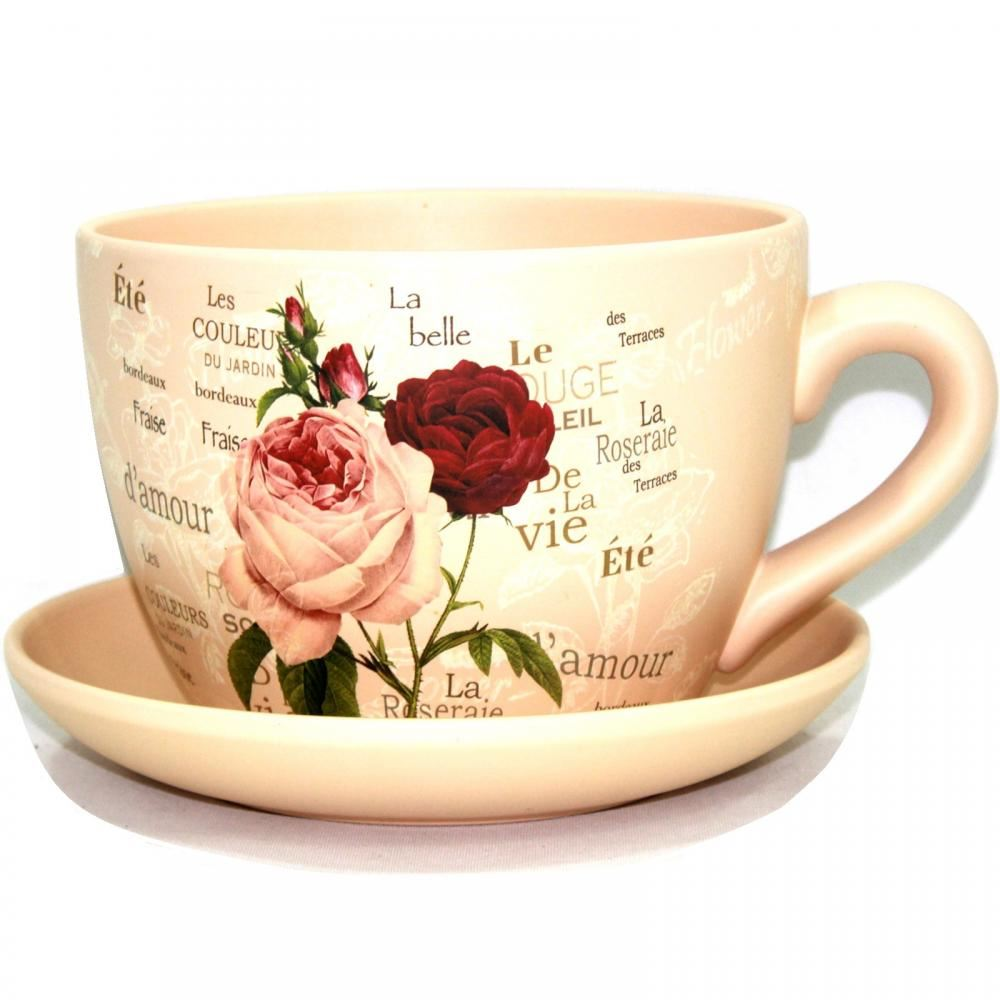 TERRACOTTA TEA CUP AND SAUCER SHAPED GARDEN PATIO FLOWER PLANTER ...
