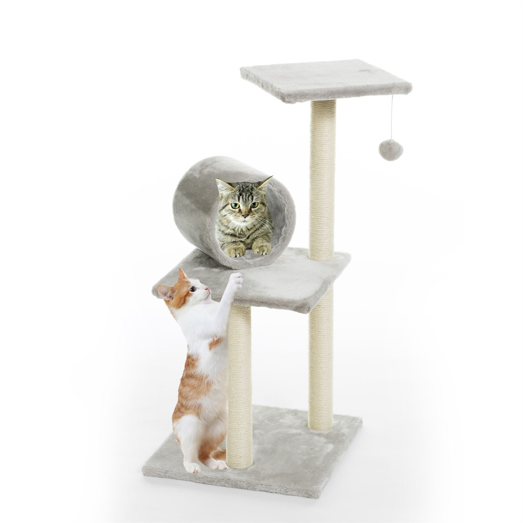 Silver Grey Cat Tree Scratching Climbing Post Activity Pet