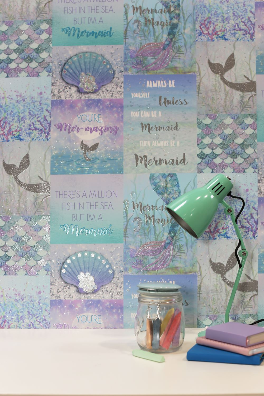 Arthouse Mermazing Ice Blue Glitter Mermaid Collage Shells Quotes