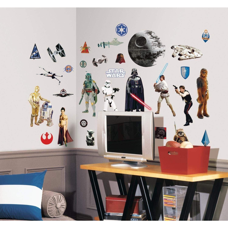 Details Sur Roommates Star Wars Autocollant Mural Vinyle Multi Couleur Enfants Chambre