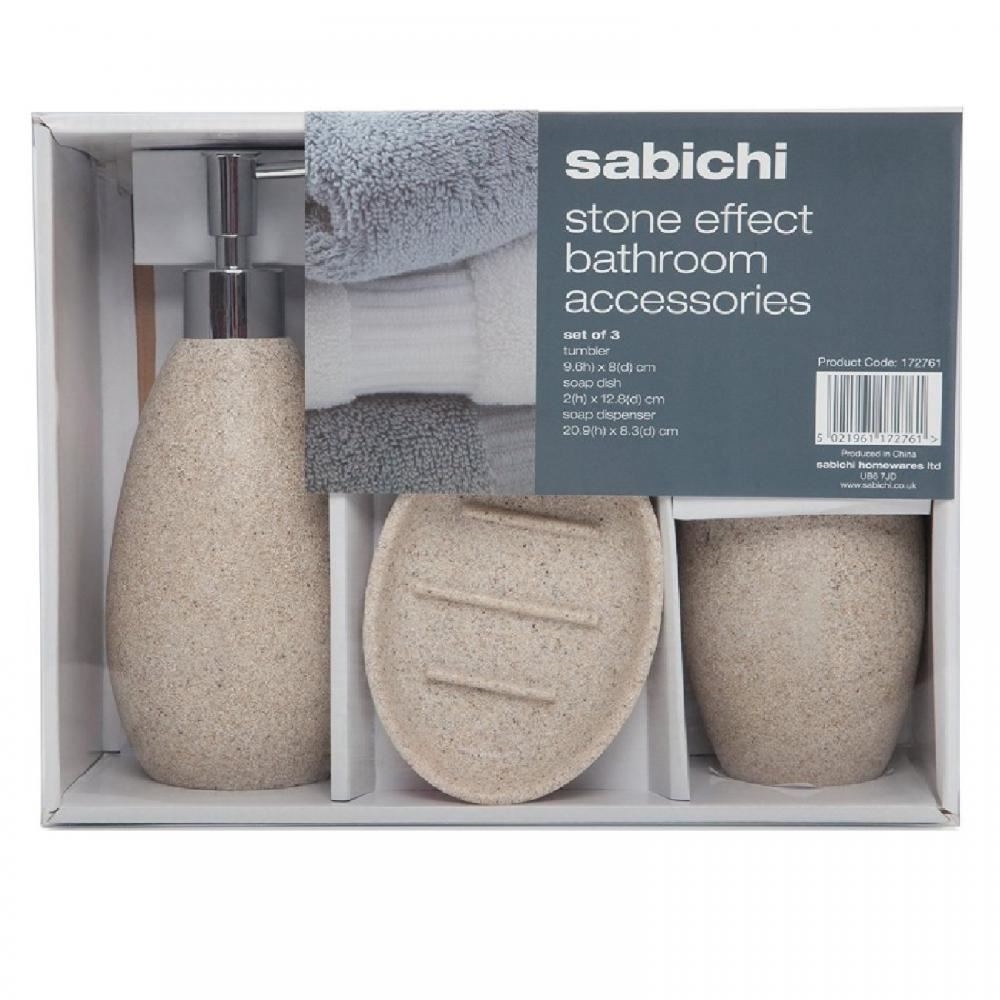 SABICHI 3 PIECE BATHROOM BATH SET SOAP DISH