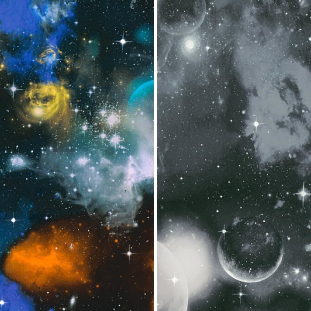 AS Creation Space Planets Stars Pattern Childrens Wallpaper Glow In The Dark