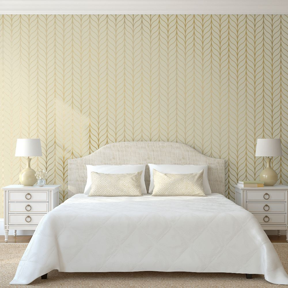 Holden Shimmering Striped Wallpaper Art Deco Trellis Metallic ...