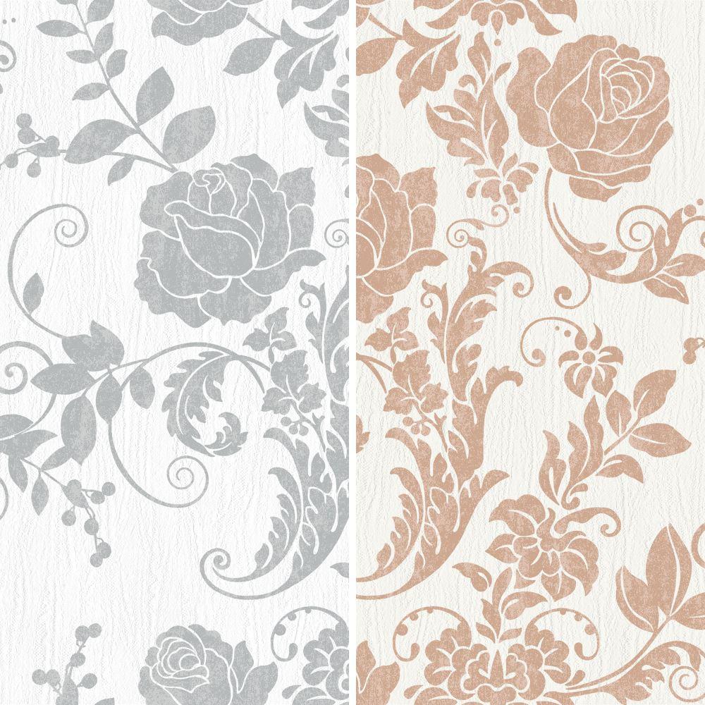 Details About Rasch Rose Flower Pattern Wallpaper Metallic Floral Leaf Glitter Motif Textured