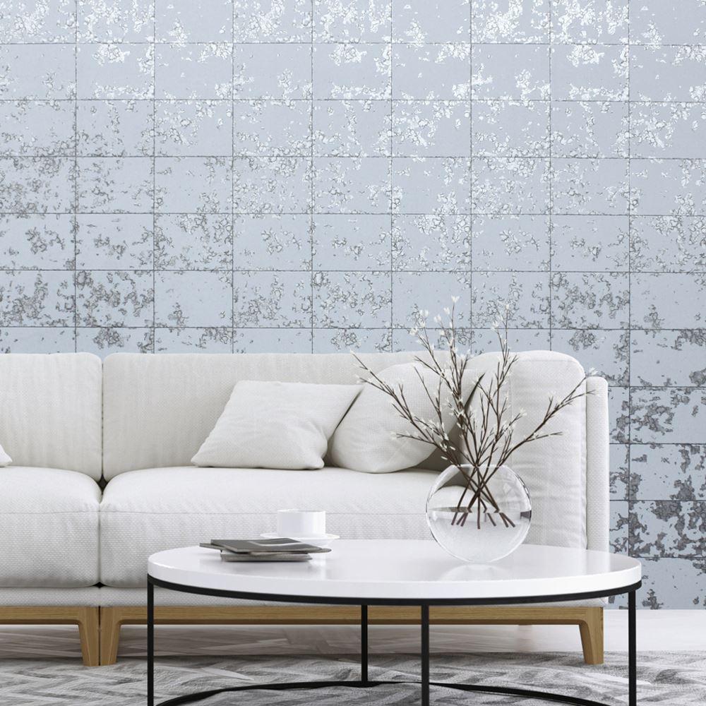 Muriva Loran Tile Pattern Wallpaper Faux Brick Stone Metallic Vinyl ...