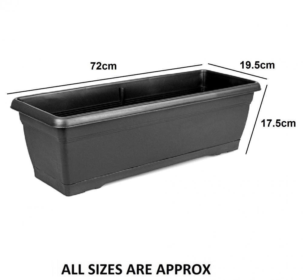Large 72cm garden plastic trough balcony planter flower for Oversized garden tub