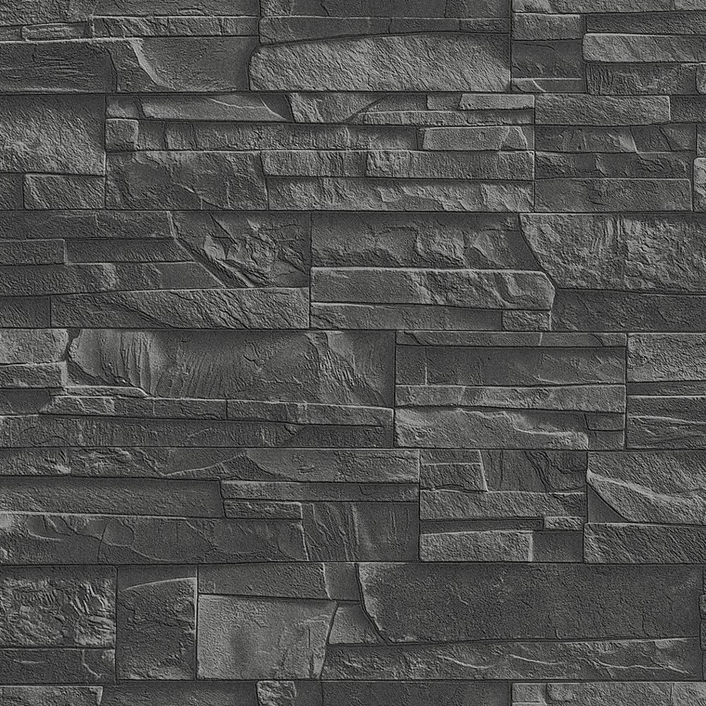 New rasch factory slate brick pattern stone faux effect for Brick mural wallpaper