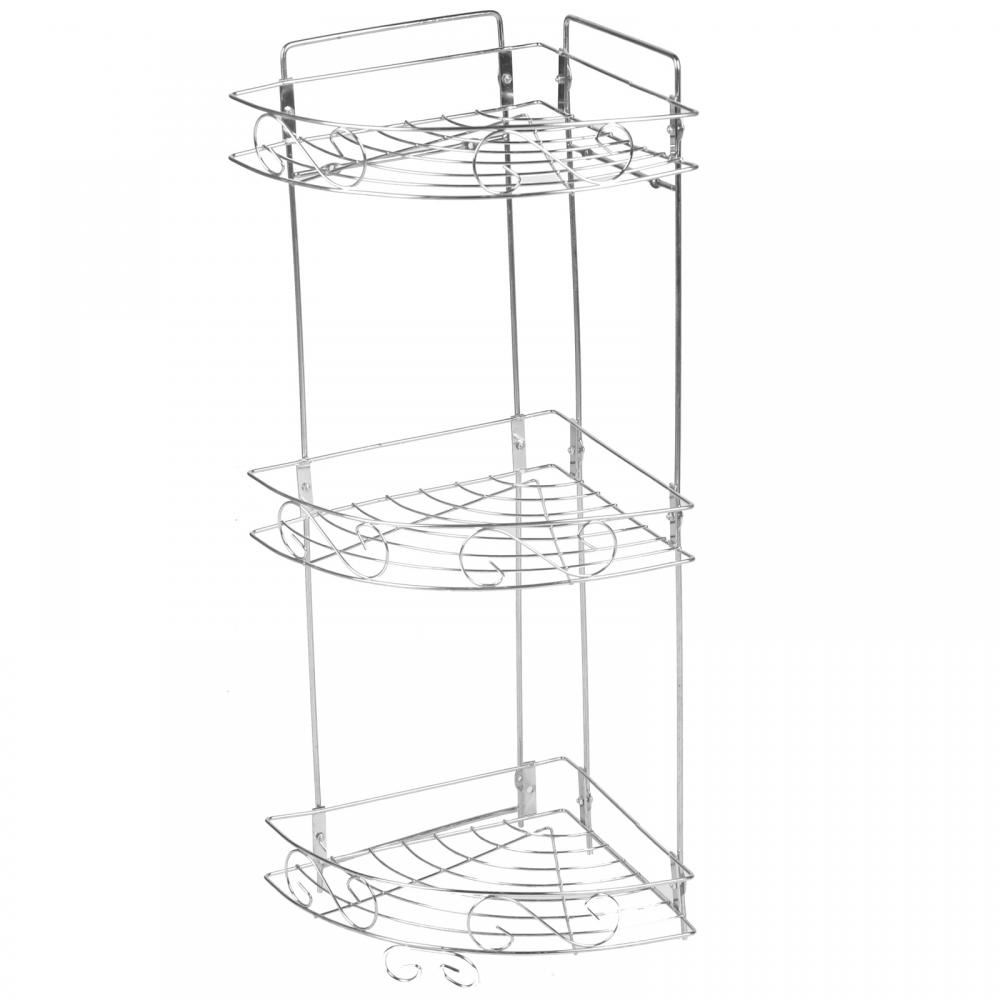 3 Tier Chrome Metal Swirl Bath Organiser Corner Shelf Unit Shower ...