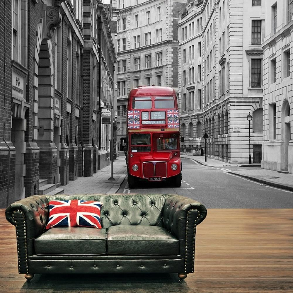 LONDON CITY RED BUS UNION JACK WALLPAPER MURAL PHOTO GIANT WALL POSTER  DECOR ART
