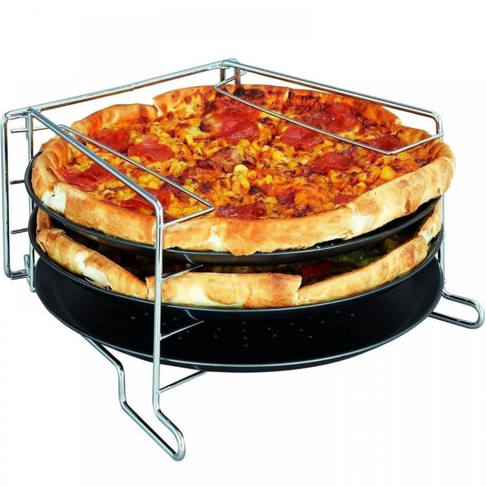 niveau 3 pizza tower cuisson set plateau de service 30cm plateau four grill ebay. Black Bedroom Furniture Sets. Home Design Ideas