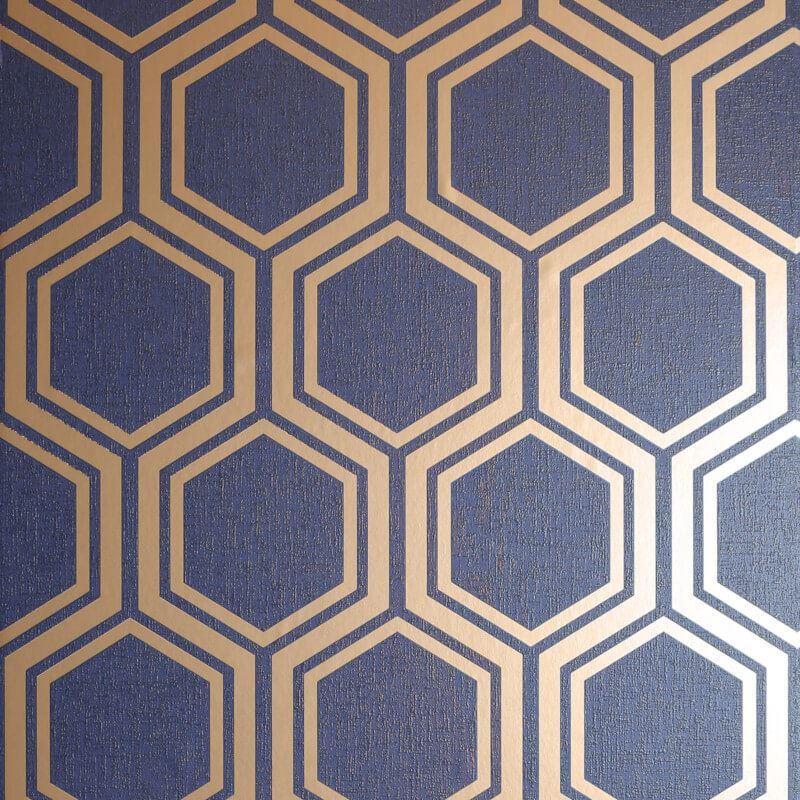 Arthouse Luxe Hexagone Geo Métallique En Tissu Texturé Effet Papier Peint 910206