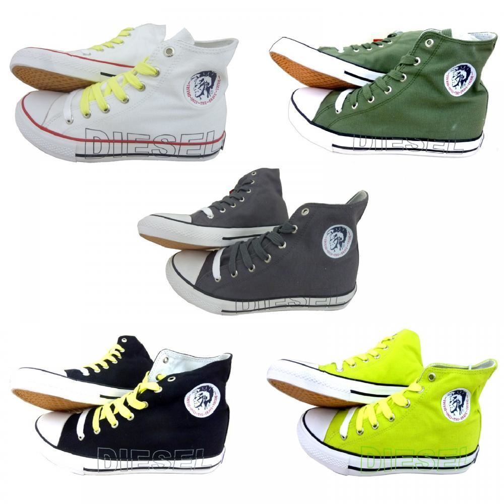 88ee3e02b30 Details about New Diesel Mens Designer High Top Shoes Canvas Casual  Sneakers Boots Trainers