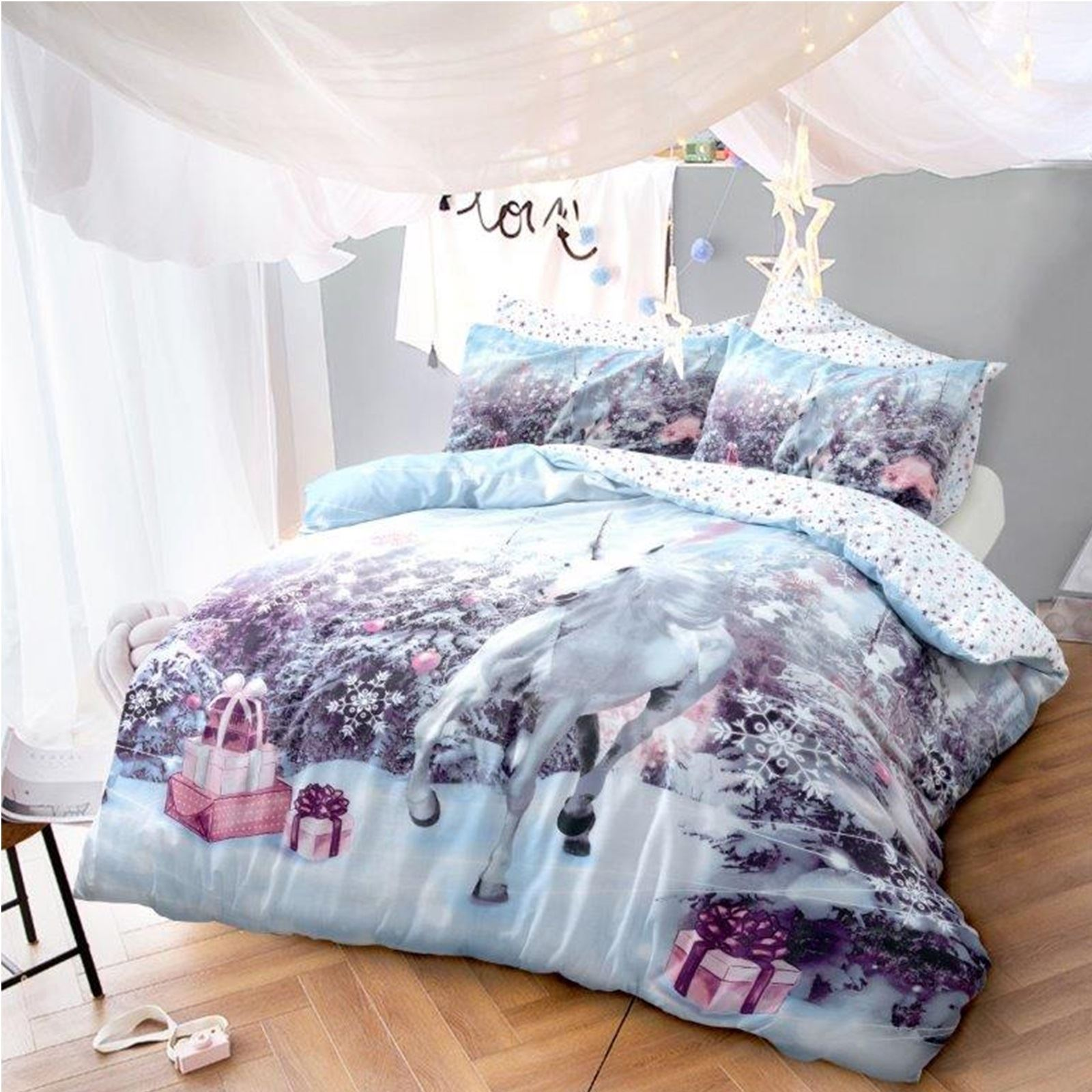 Luxury unicorn christmas kids xmas duvet set bed festive - Drap housse king size ...