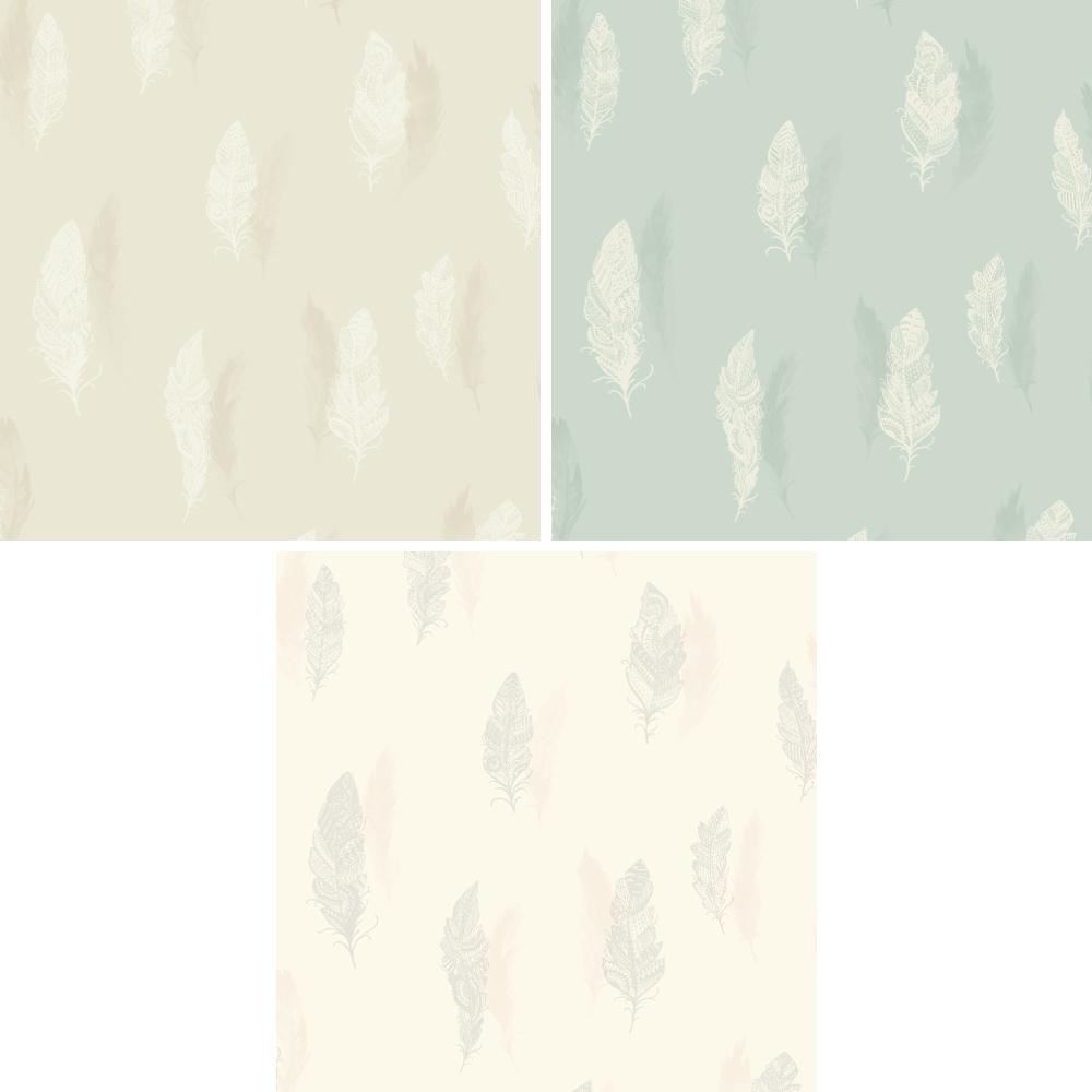 NEW HOLDEN DECOR QUILL FEATHER PATTERN NATURE BIRD SILHOUETTE LEAF WALLPAPER